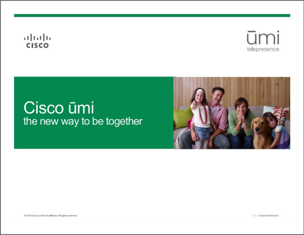 umi Telepresence Sales Training  Cisco  Scripted product launch presentation that introduced Cisco's high-end teleconferencing system for families and individuals to Best Buy's Magnolia store managers.    READ MORE >>