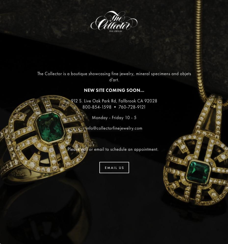 Collector Fine Jewelry splash page