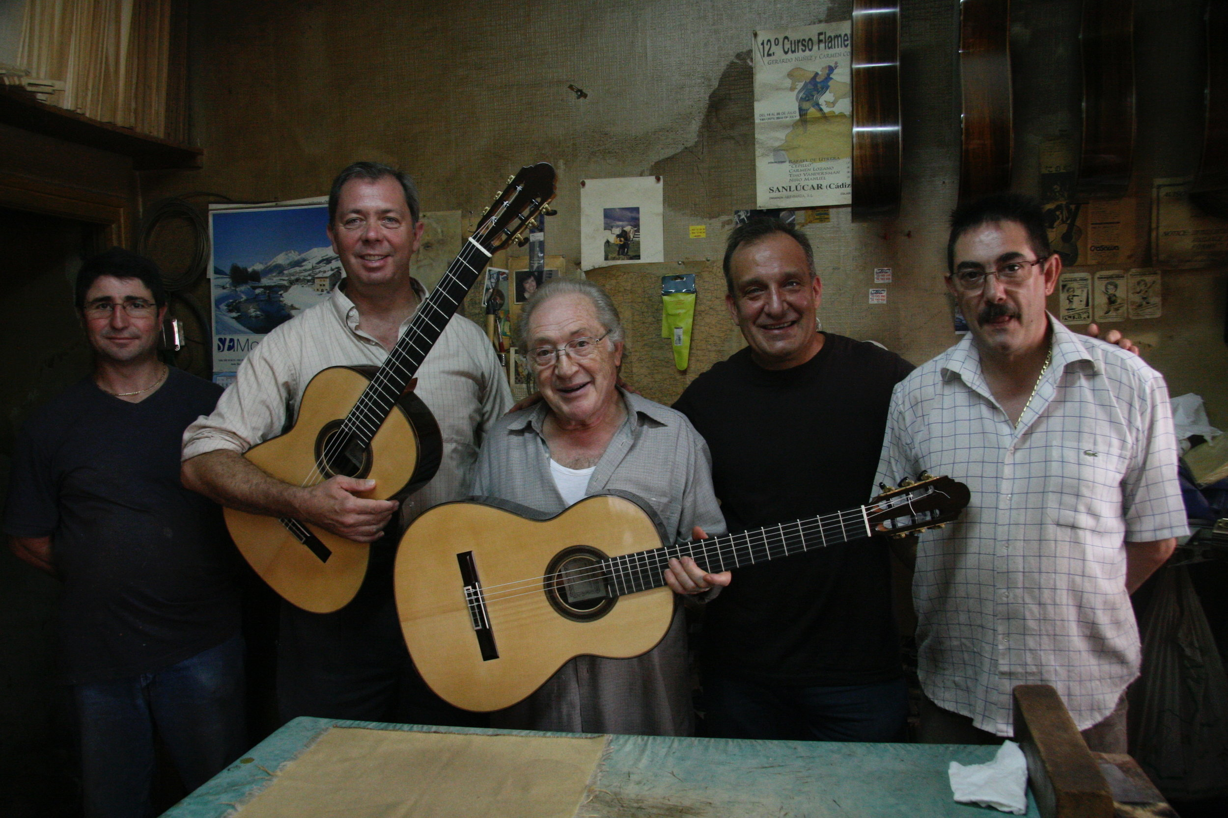 With master luthier Antonio Marîn Montero  Granada, Spain, September 2008   Left to right: Pepe Marín, me, Antonio Marín Montero, Stephen Marchionda, Jose Marín Plazuelo