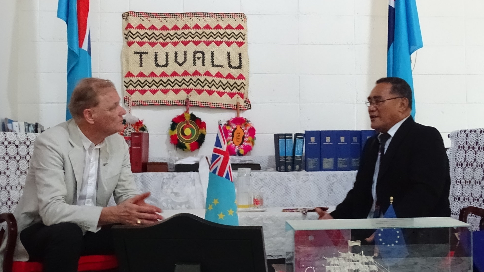 Dr Stevens QC received at Government House, Funafuti, by His Excellency the Acting Governor-General of Tuvalu, The Reverend Tofiga Falani.  (August 2017)