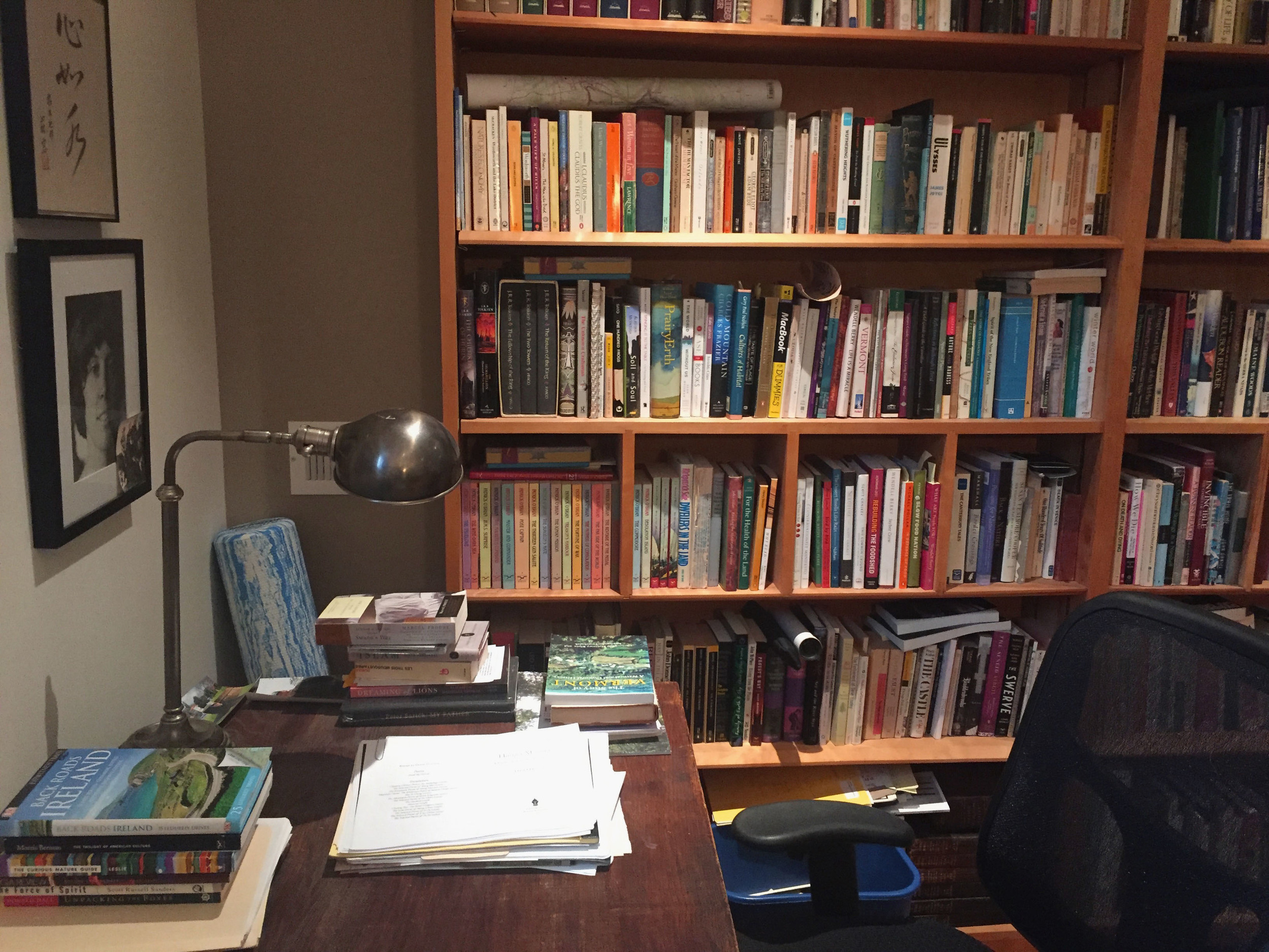 A book of Ireland, the desk, and a colorful wall of nonfiction.
