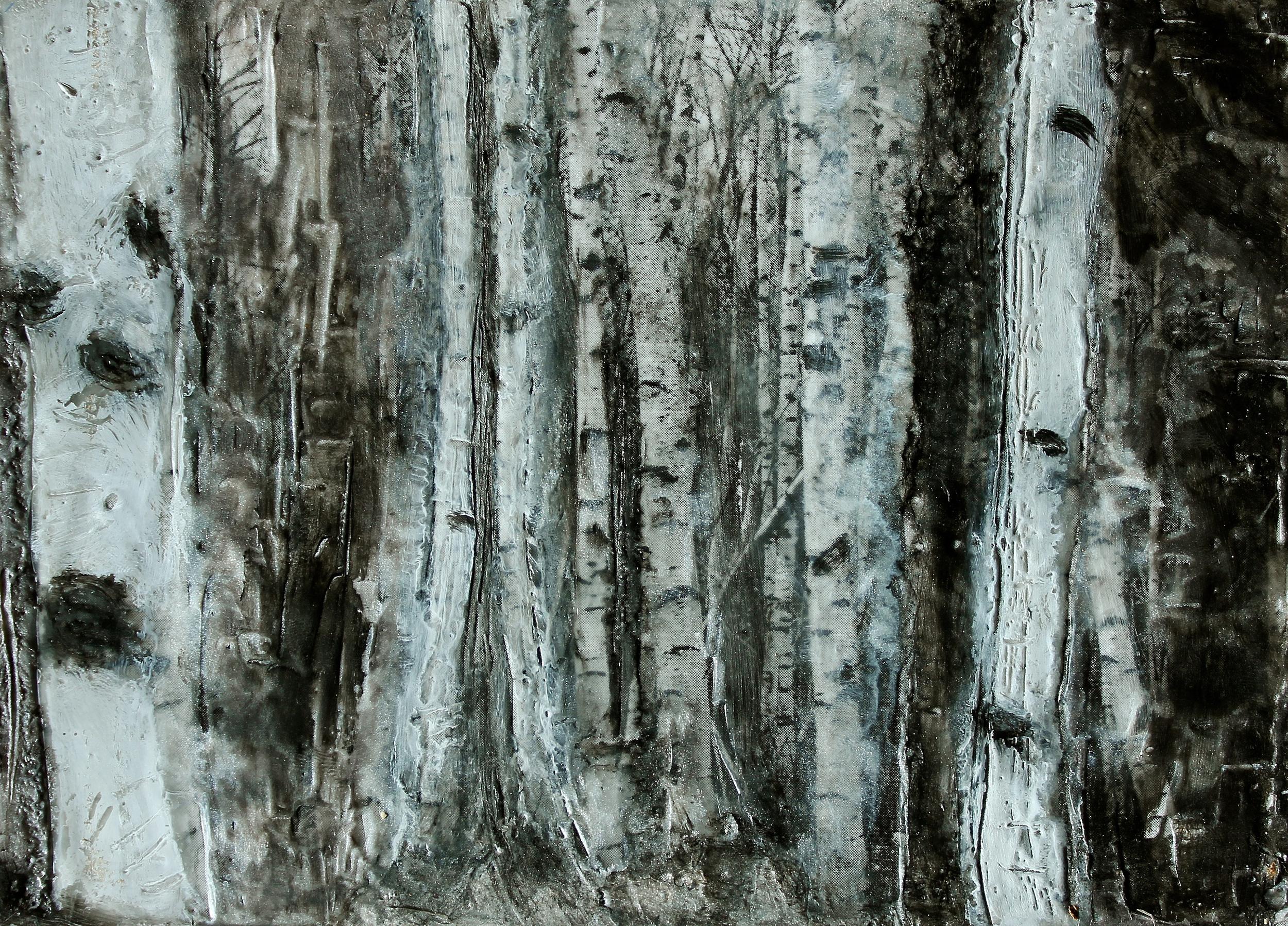 Birches |  Encaustic wax    , 2014