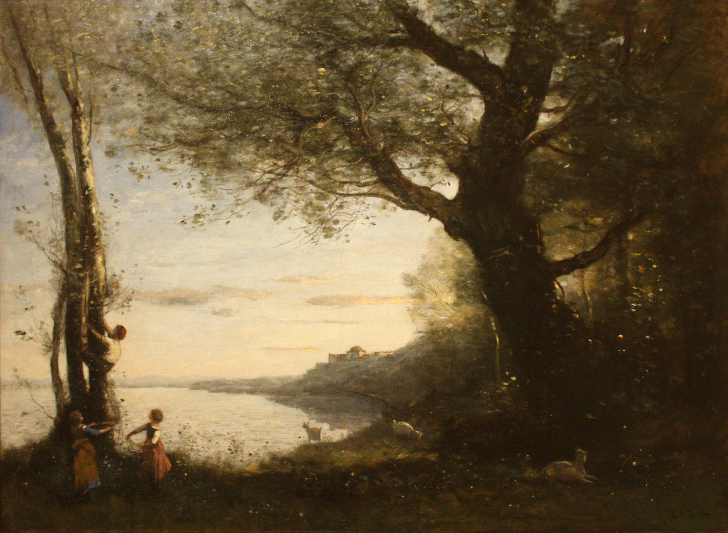 The Little Bird Nesters,  Jean-Baptiste-Camille Corot (1873-1874), { PD-US }