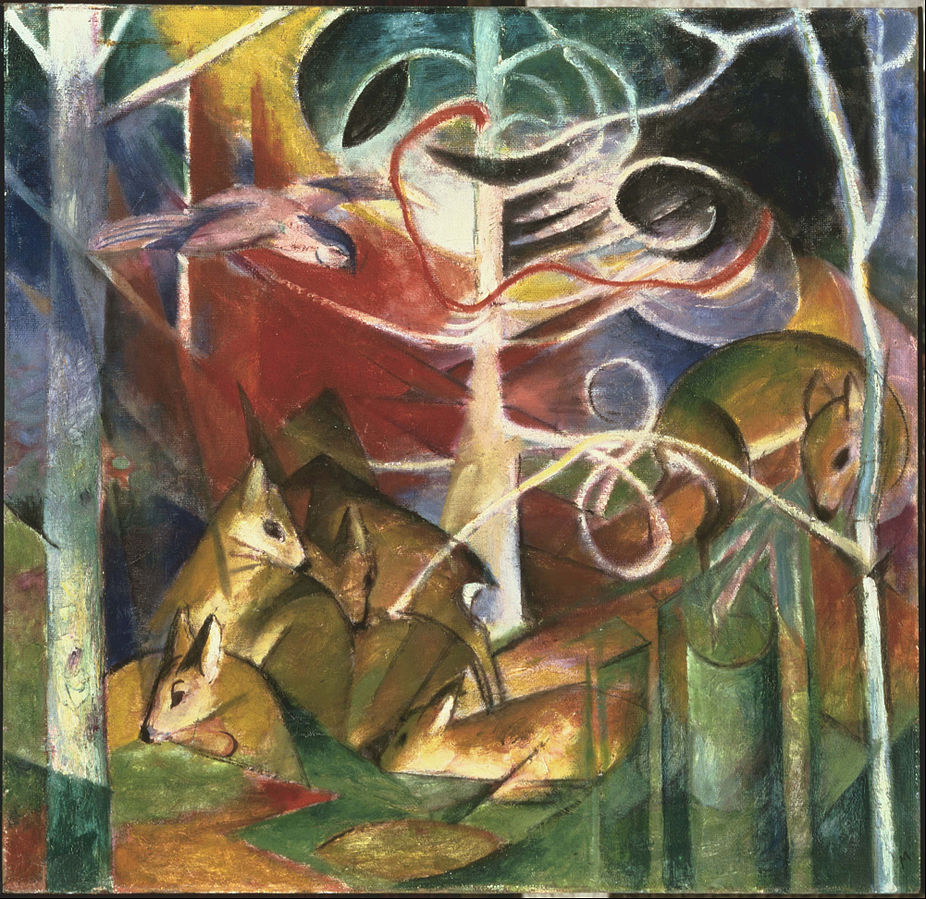 Deer in the Forest I  | Franz Marc | { PD-US }