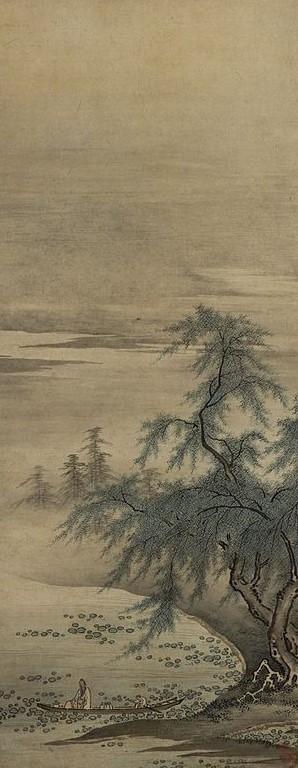 Zhou Maoshu Appreciating Lotuses  |  Kanō Masanobu