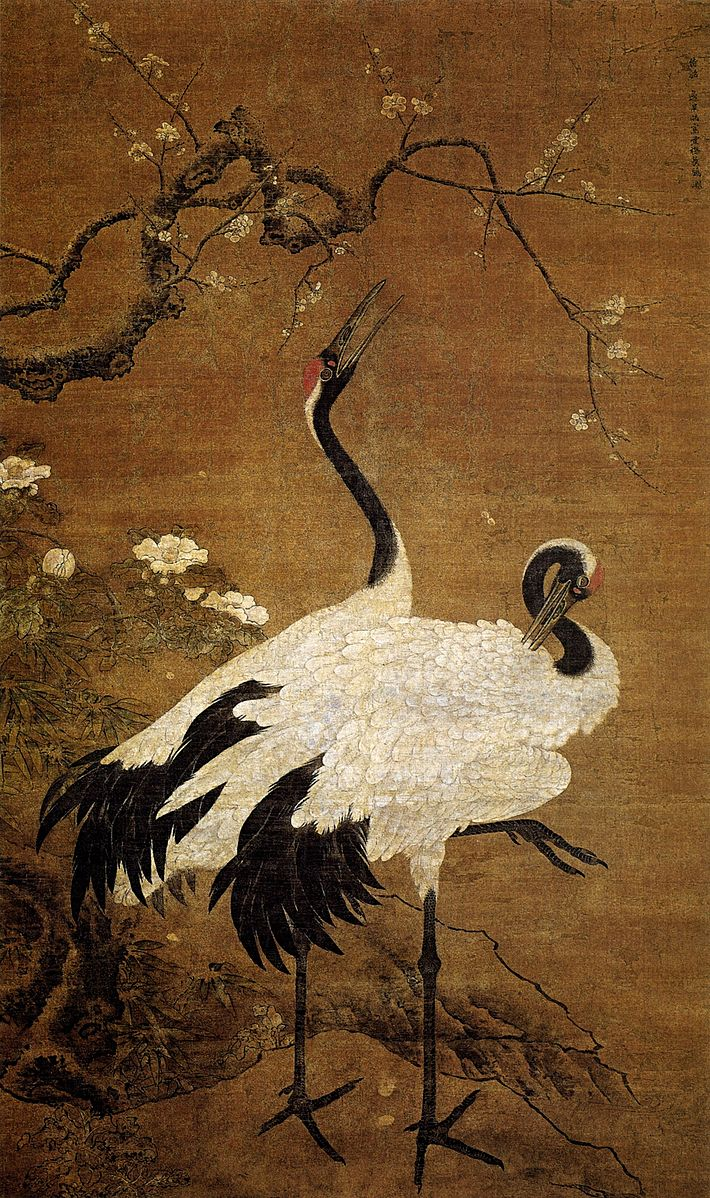 Snow Plums and Twin Cranes   | Bian Jingzhao Image courtesy of Wikimedia Commons