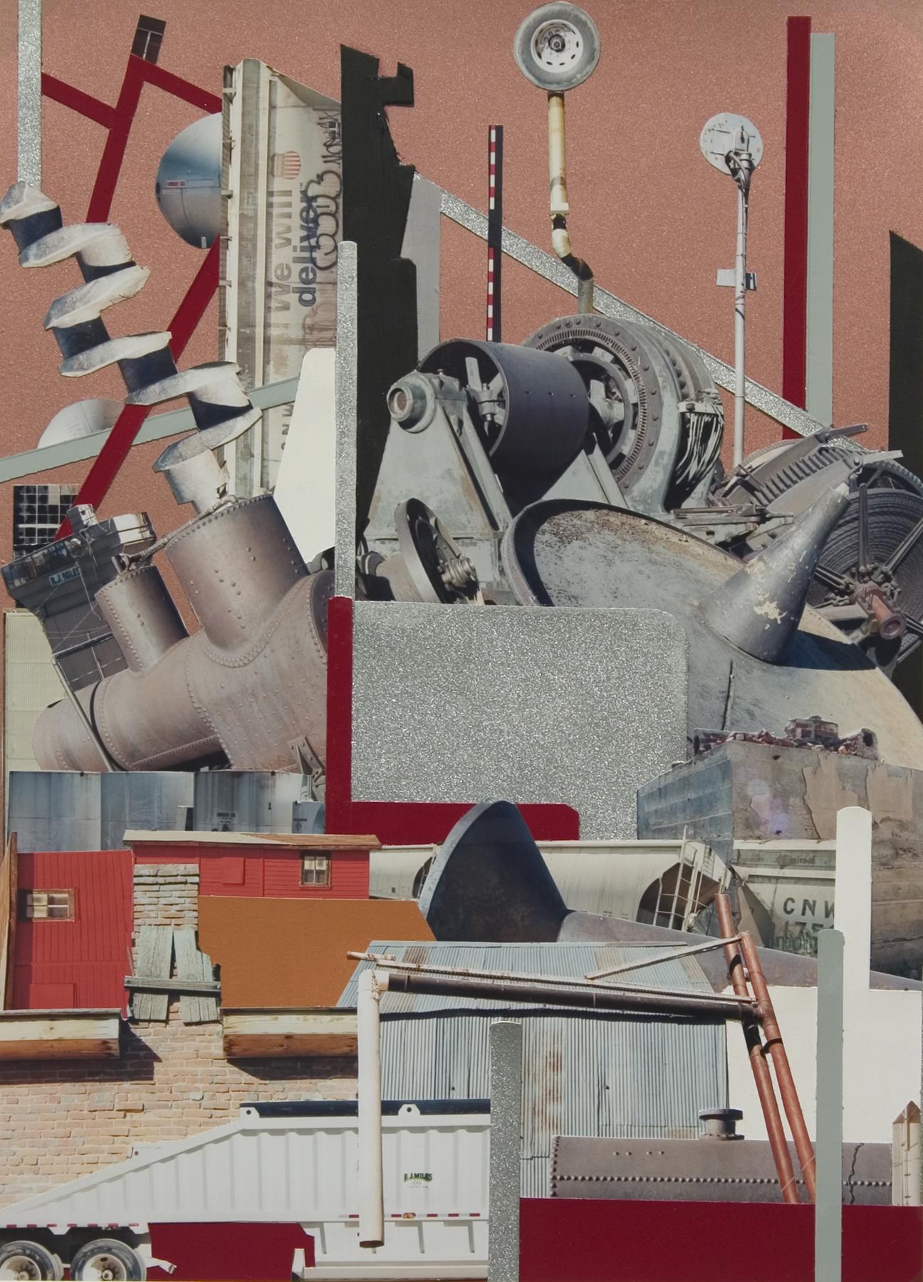 "Sheeler's Wake . Mixed Media Collage, 13.5 x 9.5"", 2006."
