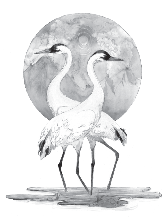 Whooping Cranes with Polluted Sky | JENNY KENDLER  Graphite, gouache, and watercolor on paper, 16 1/4 x 12 1/4 in., 2010