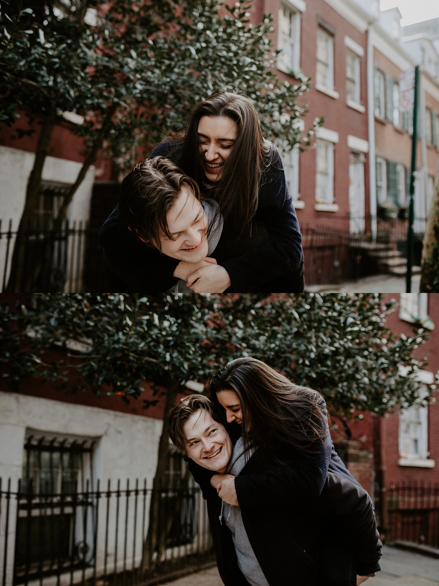 Couple laughing and spinning around in one another's arm on New York City sidewalks in Greenwich Village