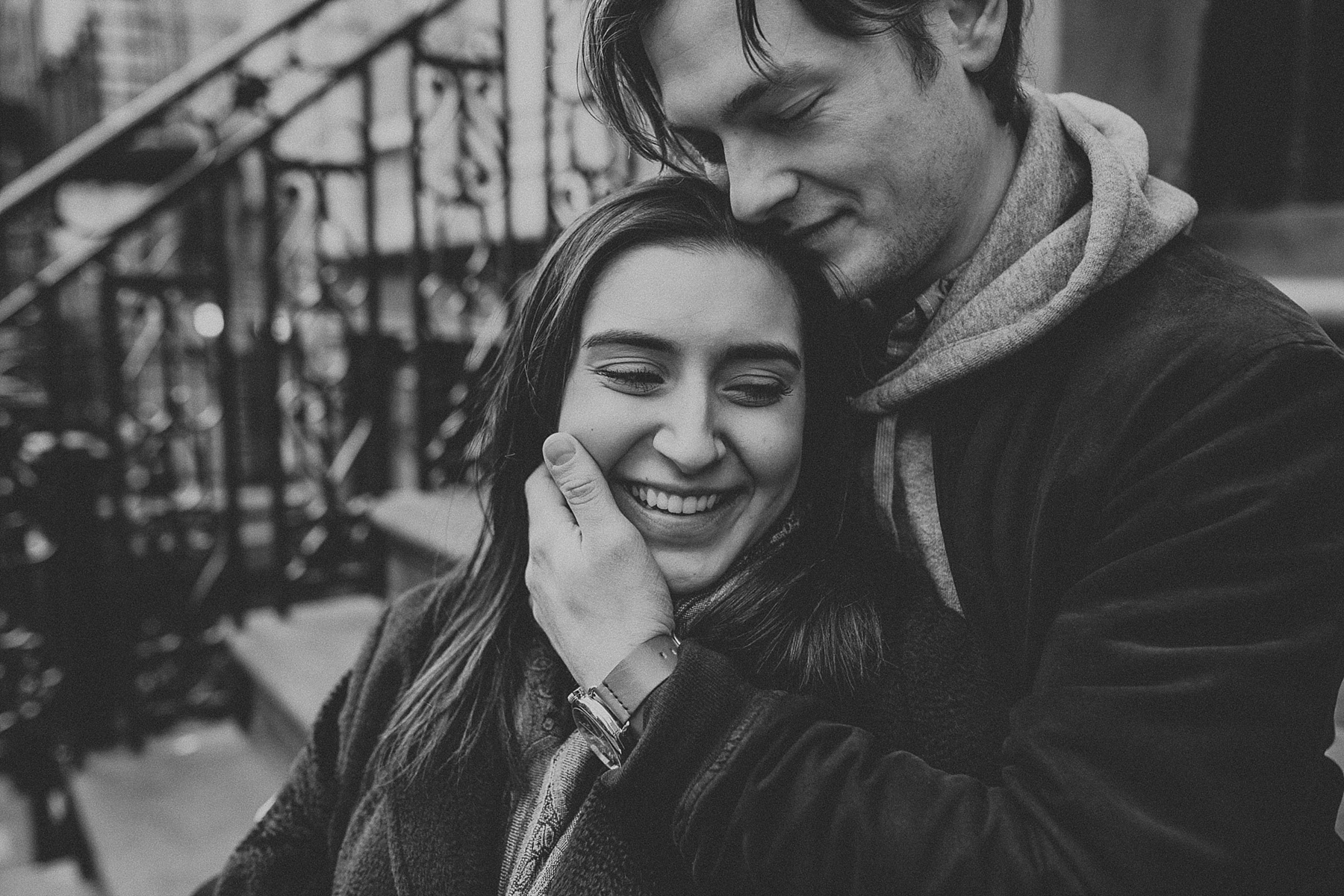 Engagement photos on New York City brownstone steps