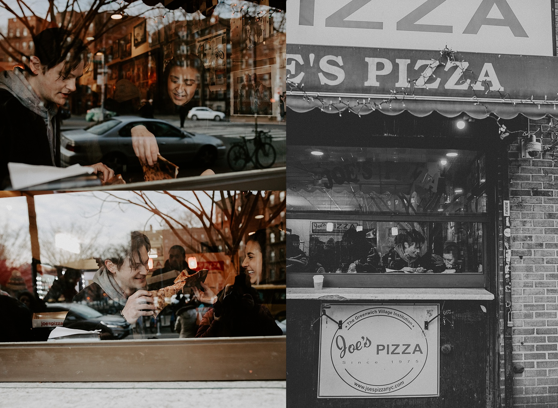 Couple sharing and enjoying a piece of pizza during engagement session in New York City at Joe's Pizza Carmine Street location