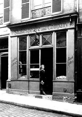 Sylvia Beach in front of the Best Bookstore Ever, the original Shakespeare and Company at 12, Rue de l'Odeon in Paris