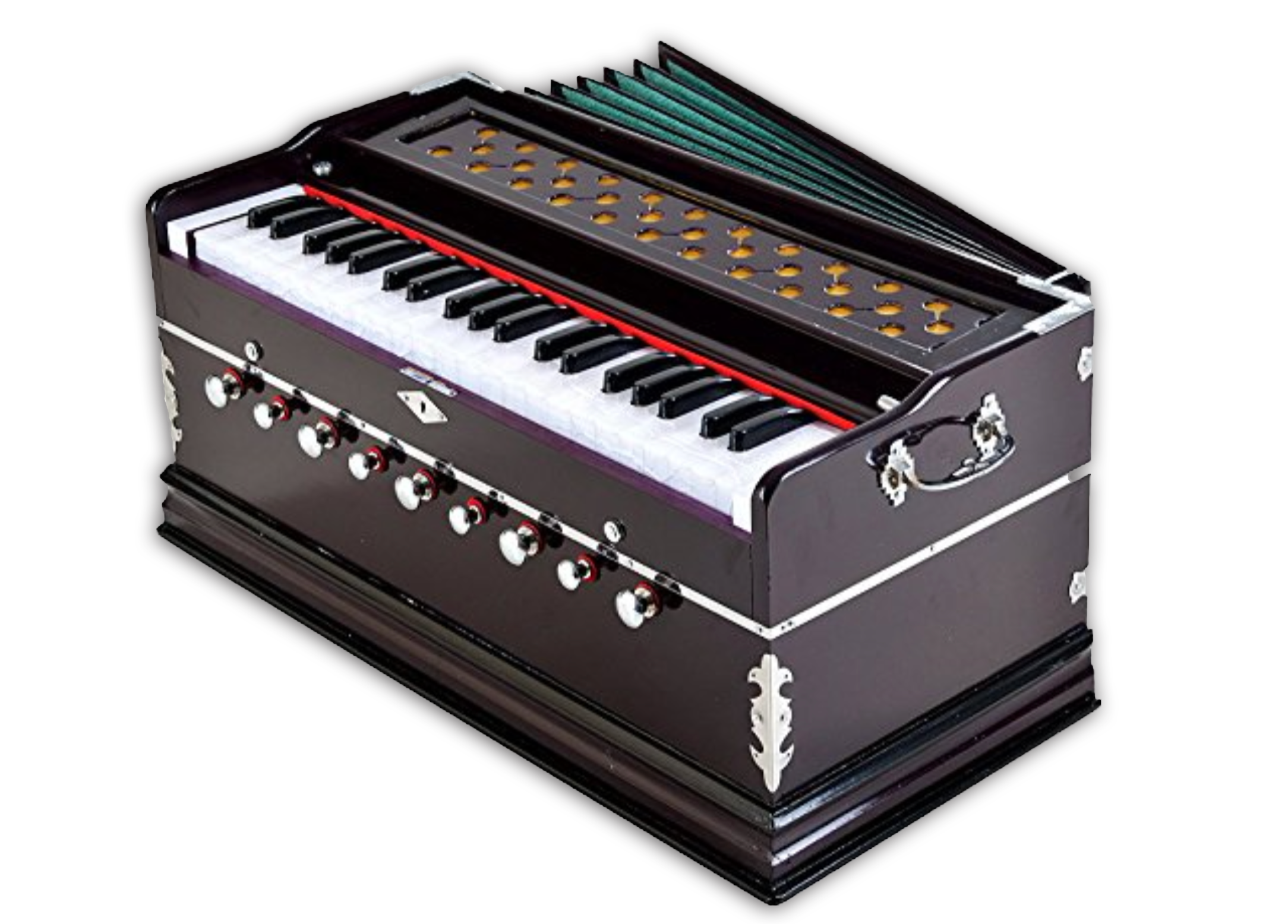 Harmonium - The harmonium is an instrument that is indispensable in India and that is used inthe religious field, in classical music, in folklore and for playing within the family. Itowes its popularity mainly to its easy handling. The harmonium can be compared inits functioning to the accordion. Air is pumped into an enclosed space by means ofbellows. With a keyboard it is possible to open specially defined holes, throughwhich the pumped air is then pressed. The reeds attached to the openings (double,triple or quadruple reeds) are set vibrating and so produce the desired note.