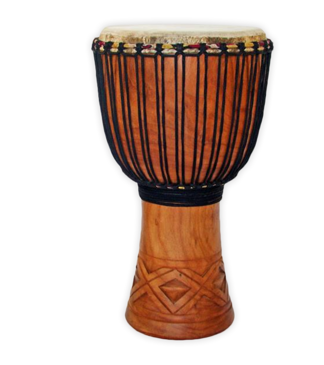 The djembe - The djembe (pronounced JEM-bay) is one of the most versatile and widespread percussioninstruments on the planet. Its huge popularity is down to the fact that it can create an unusually wide range of pitches, namely the bass (low), tone (medium) and slap (high). These sounds are created by striking different areas of the djembe skin with the hands.The djembe has been an integral part of spiritual and ritualistic life in West Africa for manygenerations. It was traditionally only played by griots, well respected high-class court musicians,who used it for story-telling: passing on important historical, religious and cultural informationto future generations. Griots were, and still are, respected as not just incredible musicians, butmen of great knowledge, possessing centuries of wisdom passed down to them through theirdirect ancestors.The soul of the djembe is one that brings us back to our roots. Its beats remind us of the visionof our heats and inspires unity with all through its beautiful rhythms and sounds. With the vibesof the djembe resonating in your body, you will be hard pressed to not feel connected to yourhighest self.