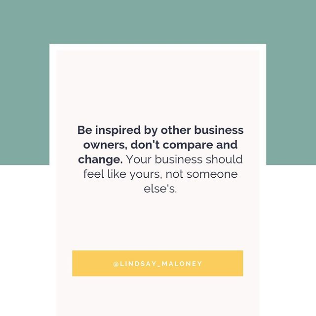 "You can get inspiration from others, but don't compare yourself and knock yourself down. ⠀ ⠀ Your business should feel like you and not someone else's. ⠀ ⠀ Your schedule should suit your lifestyle not someone else's. ⠀ ⠀ We are often so hard on ourselves and look for validation in comparison. Instead of comparison being a negative thing, turn it to a positive. ⠀ ⠀ For example, if you are jealous of another coach, turn it into a positive phrase such as, ""that's so awesome that she charges that much, I can't wait to get to that point in my business."" ⠀⠀ ⠀⠀ Comment with your favorite emoji below if you are going to stay in your own lane today instead of comparing with others. ❤️⠀ ⠀⠀ ⠀⠀"