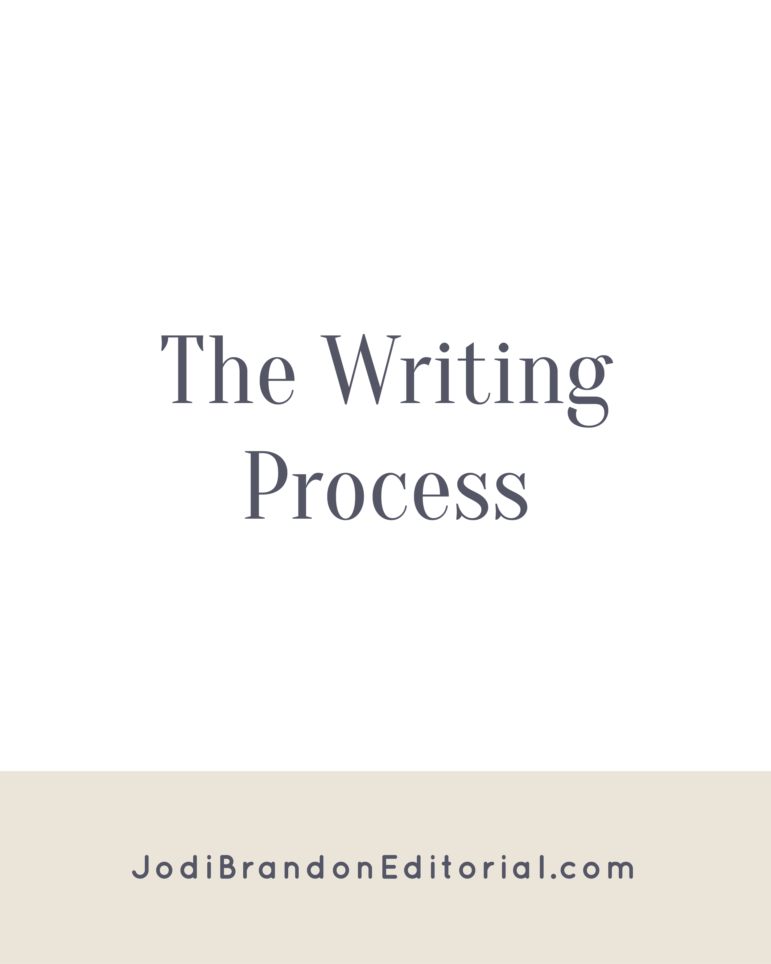 Sometimes you'll see the writing process as having four steps: writing, revising, editing, and publishing. In that scenario, prewriting is included in the writing phase. Prewriting is a separate step from writing. I cannot over-emphasize that point! If you sit down to write 50,000 (or more words) with a topic and a few key points, but nothing else, you're in trouble. Prewriting is the legwork and preparation to make the actual writing easier and faster. So really, the writing process has 5 steps.     Jodi Brandon Editorial