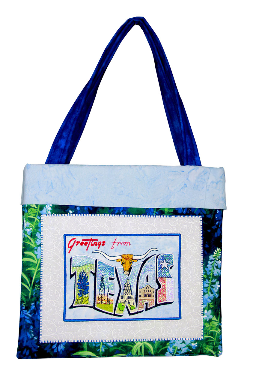 Texas Tote Pattern - PDF Pattern for Texas Tote featuring Mylar Texas Postcards embroidery design collection from Purely Gates. This pattern will work with most any embroidery design collection. Finished size is 11