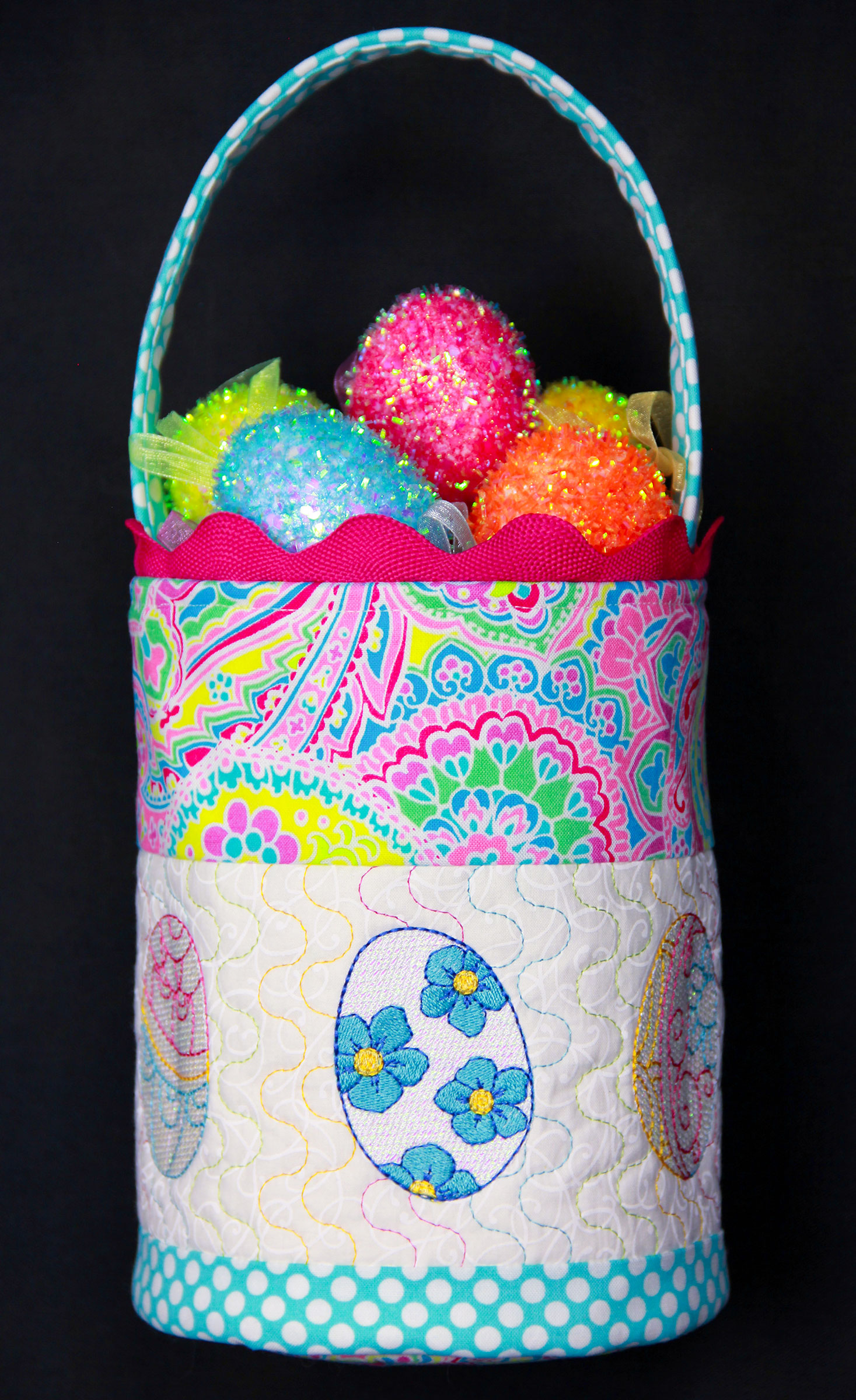 Easter Basket - PDF Pattern for basket featuring Mylar Eastertime embroidery design collection from Purely Gates. This pattern will work with most any embroidery design collection. Finished size is 7