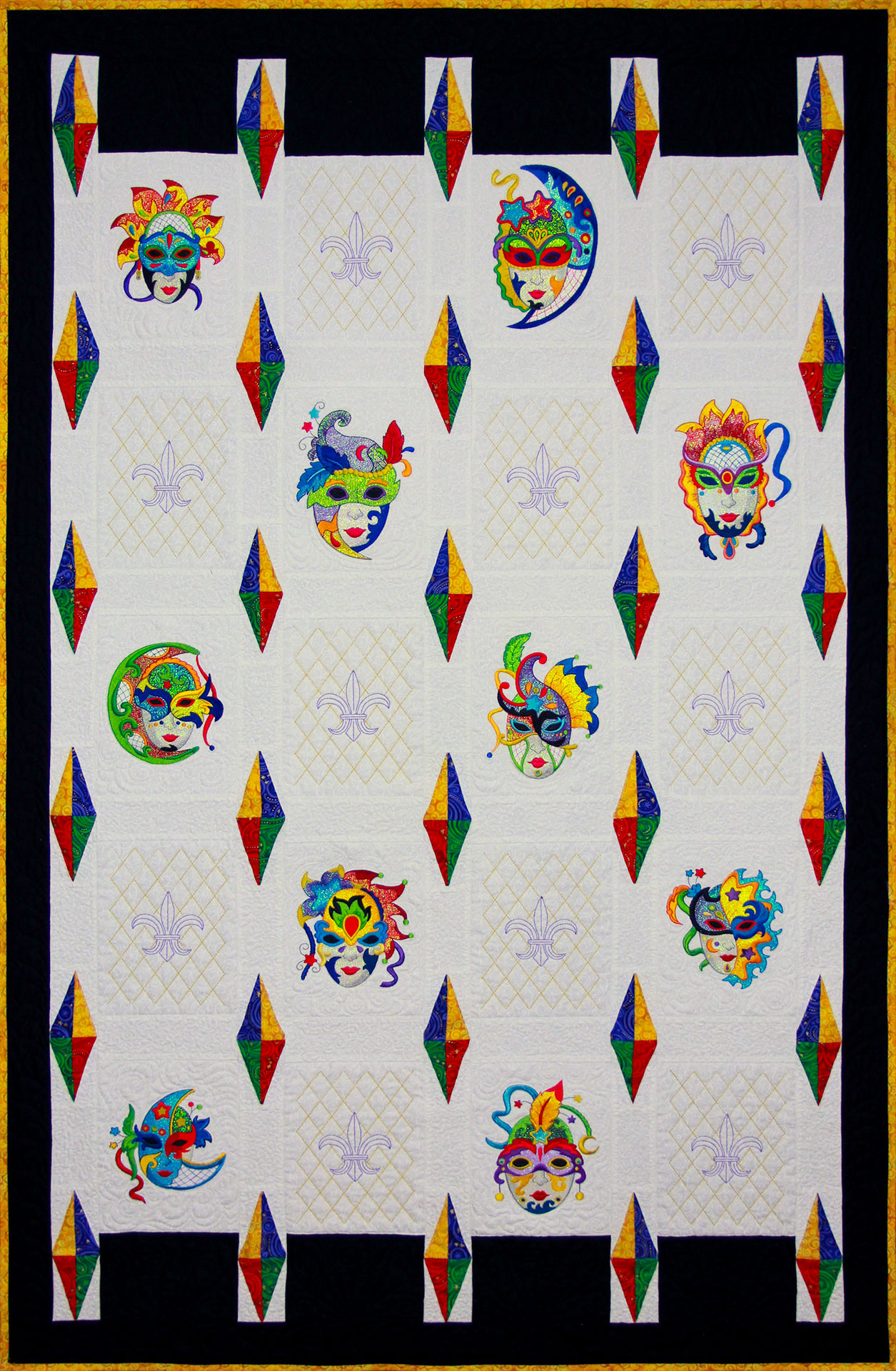 Mardi Gras Quilt - PDF Pattern for quilt featuring Mylar Mardi Gras embroidery design collection from Purely Gates. This pattern will work with most any embroidery design collection. Finished size is 34.5