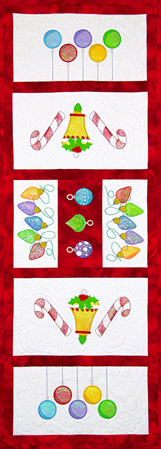 Christmas Ornaments Table Runner Pattern - PDF Pattern for table runner featuring Mylar Christmas Ornaments embroidery design collection from Purely Gates. This pattern will work with most any embroidery design collection. Finished size is 14