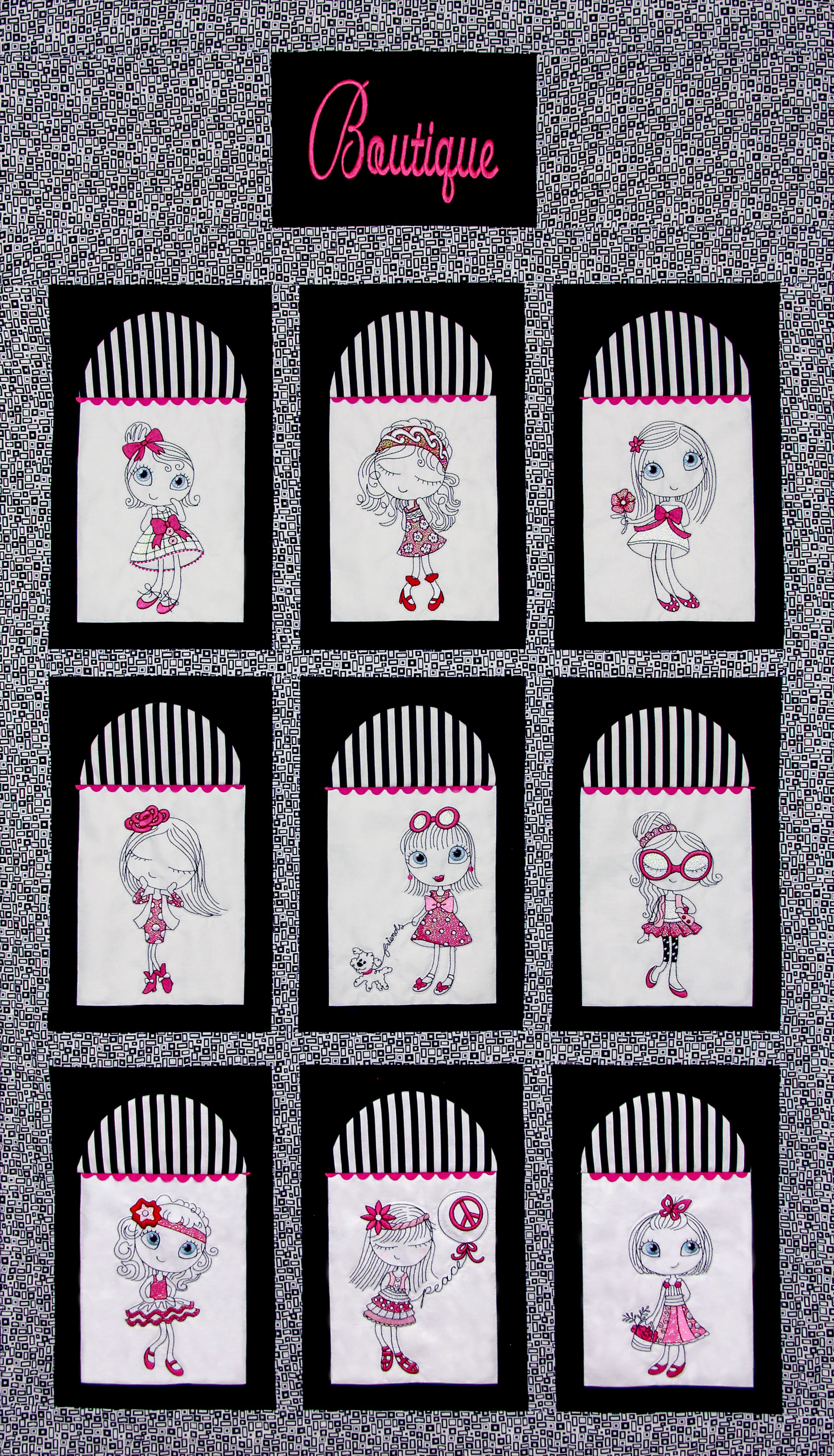 Unique Chic Boutique Quilt Pattern - PDF Pattern for quilt featuring Mylar Unique Chic 1 embroidery design collection from Purely Gates. This pattern will work with most any embroidery design collection. Finished size is 30.5