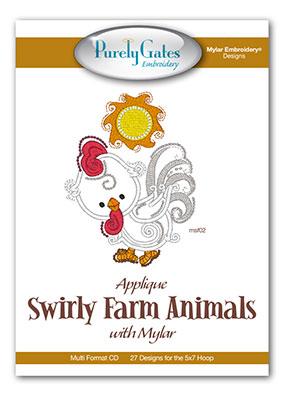 Applique Swirly Farm Animal with Mylar
