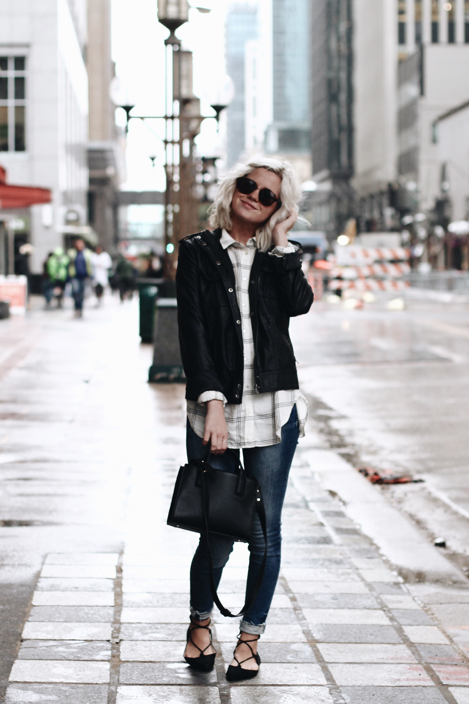 Leather Jacket / Urban Outfitters Denim / H&M
