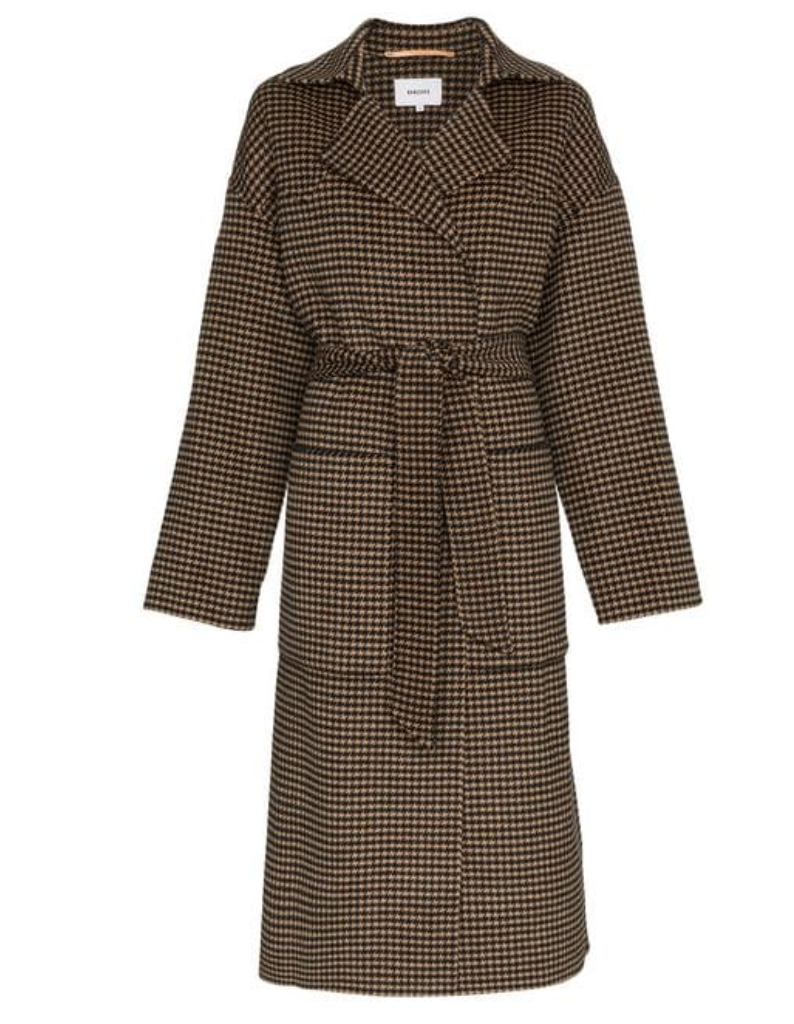 Nanushka Alamo Houndstooth Wool Blend Belted Coat