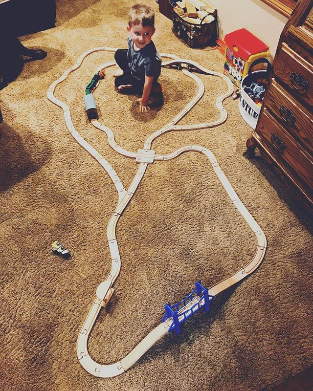 We were all tripping out at how this little guy built this complicated train track by himself. #prouddada #everydadthinkshiskidisagenius