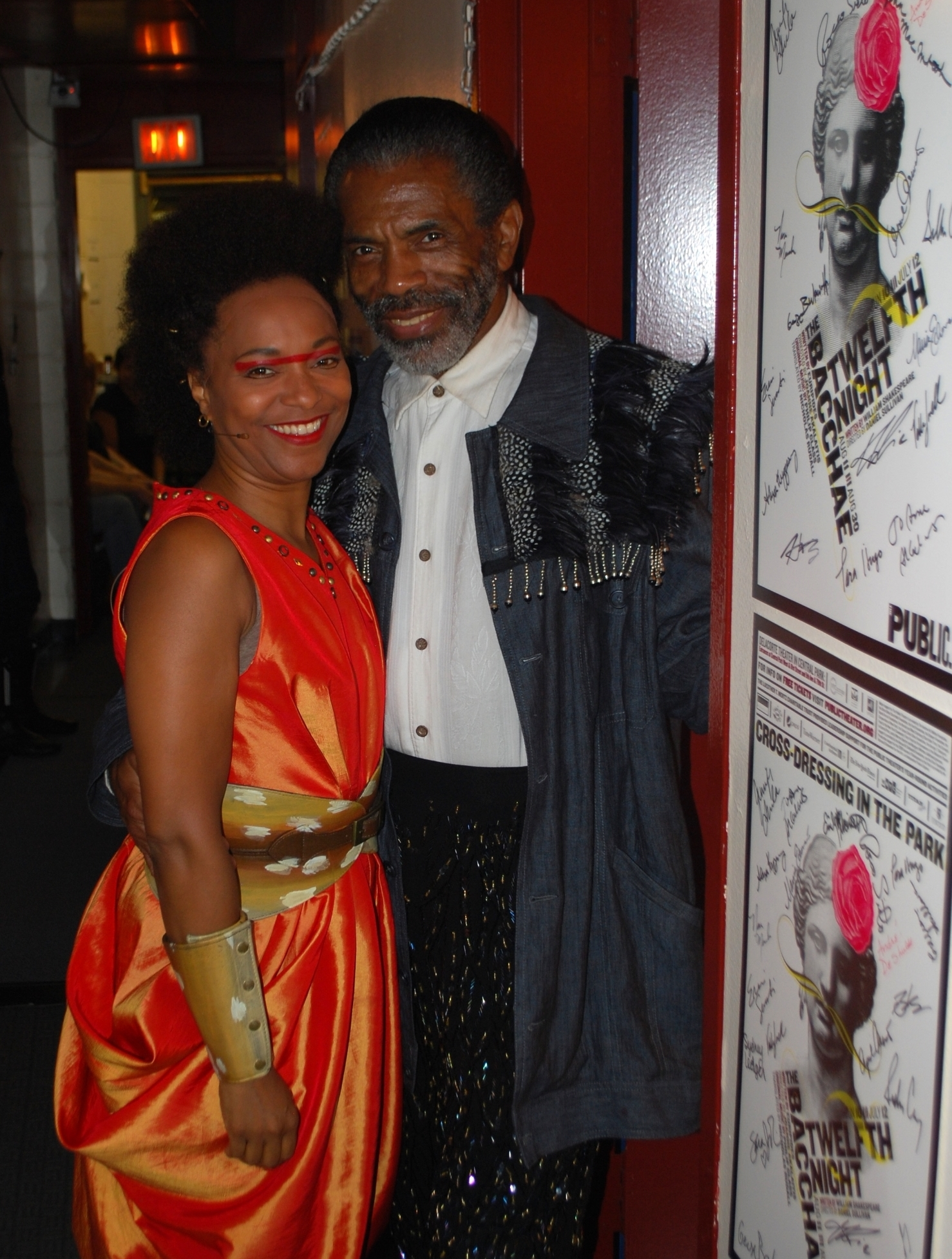 April and Andre De Shields backstage at The Bacchae at the Delacorte Theatre