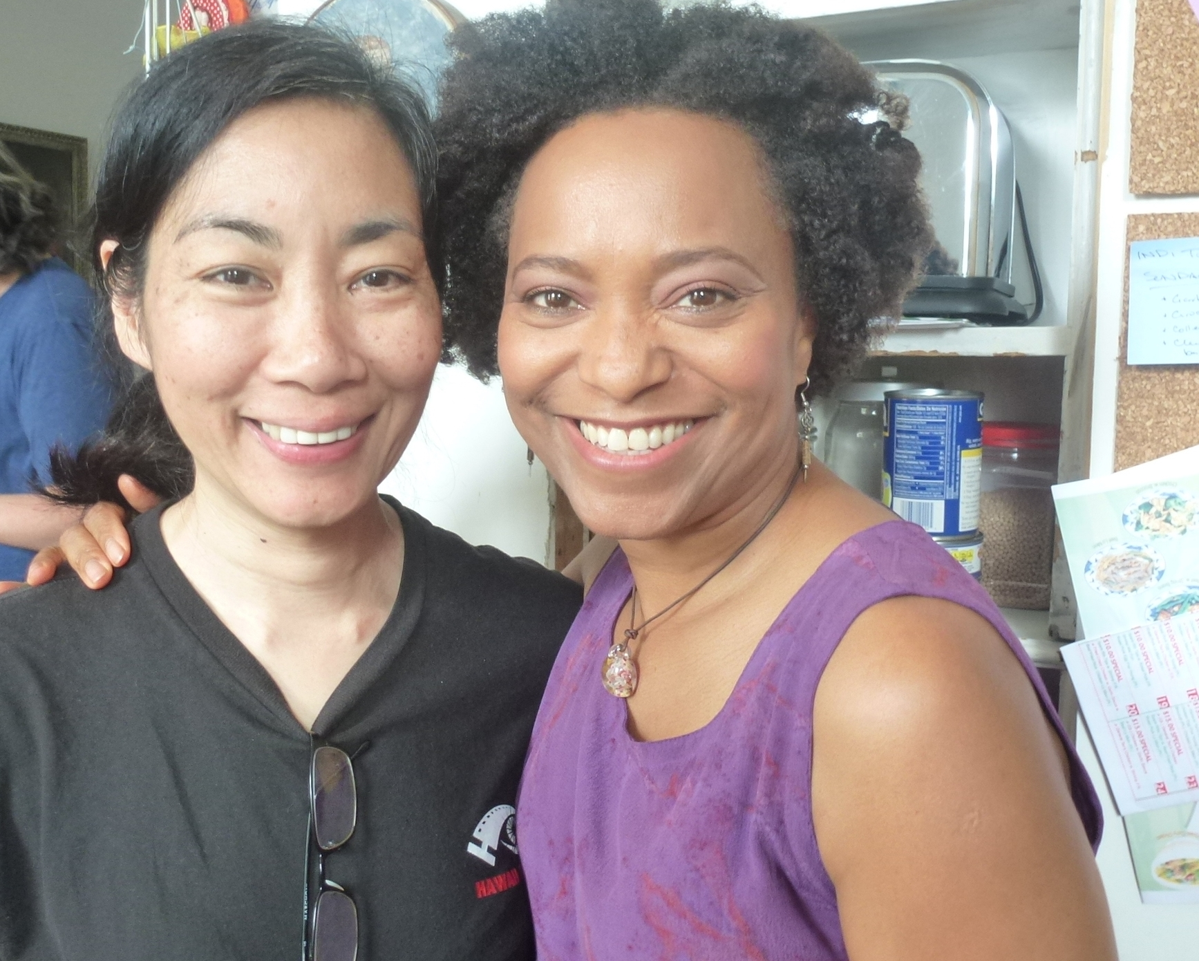 On the set of Late Expectations with director, Laurie Arakaki