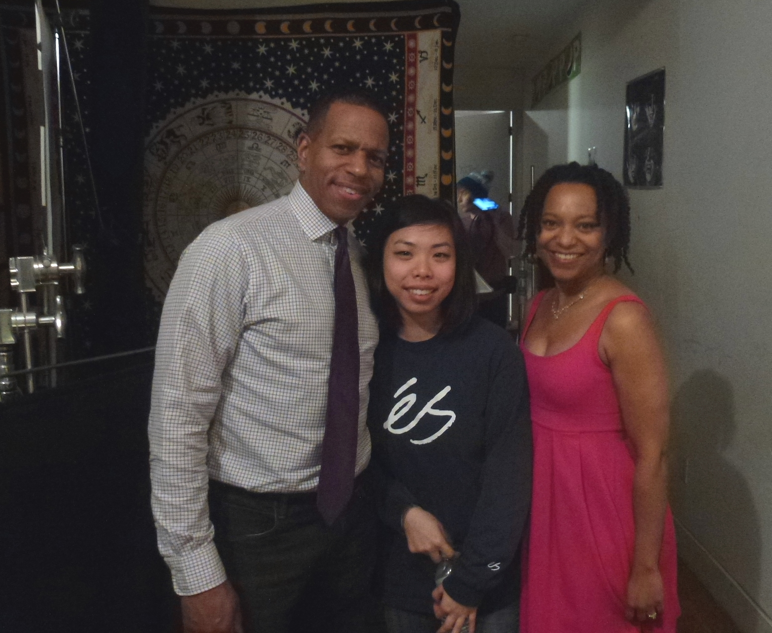 April with Michael Hill and Lisa Lok on set of Surveillance