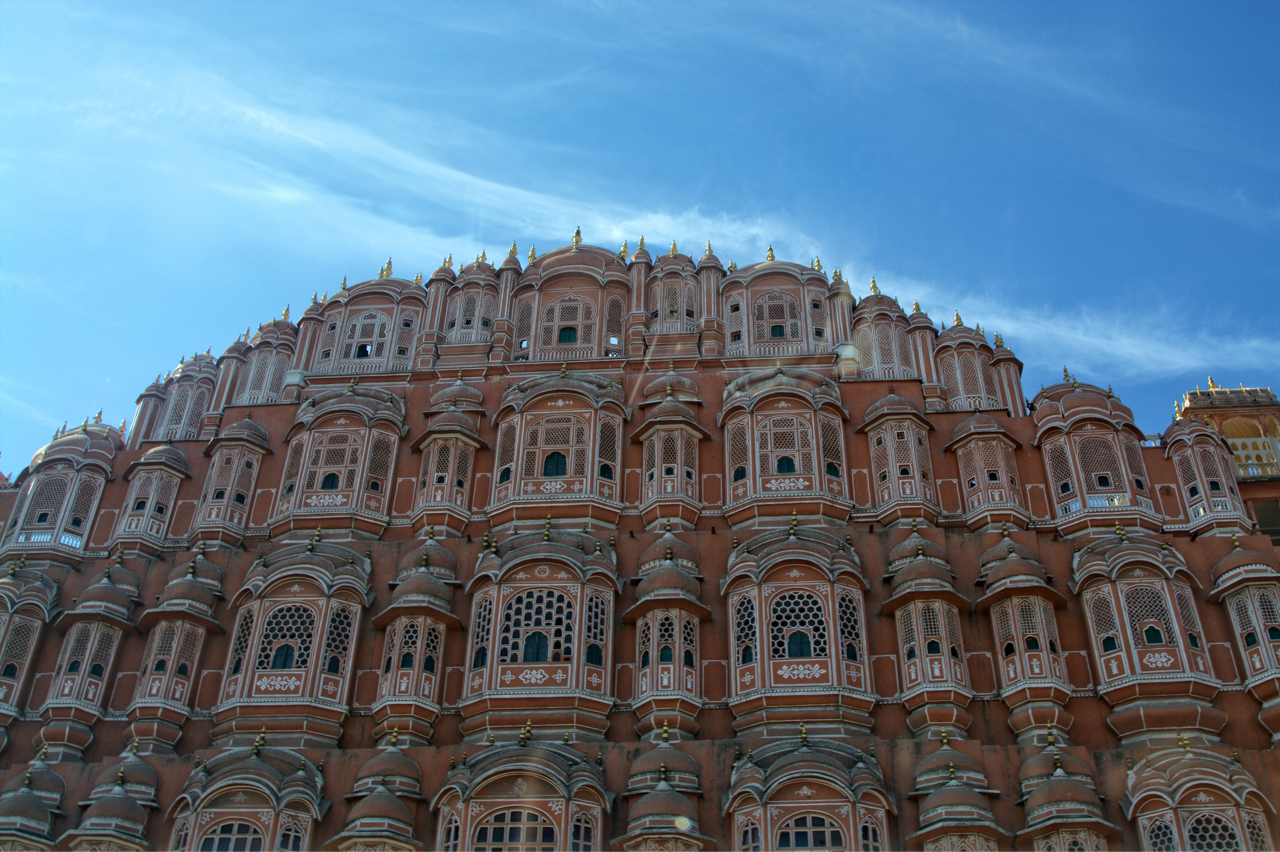 Hawa Mahal, is a palace in Jaipur, India, it was essentially a high screen wall built so the women of the royal household could observe street festivals while unseen from the outside.