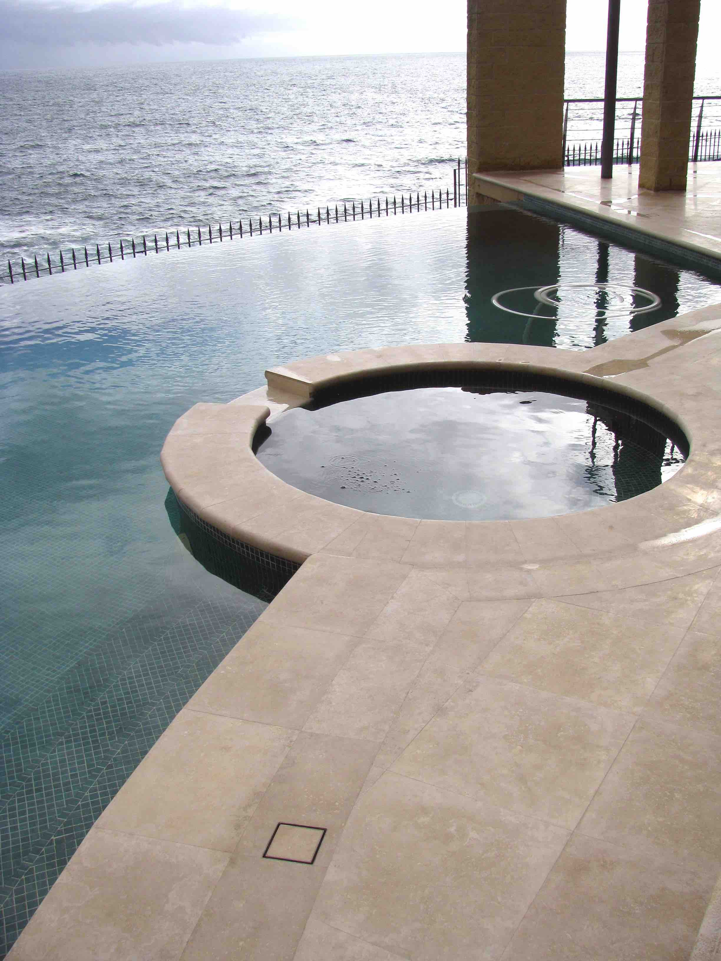 Mocha Travertine Pool Paving