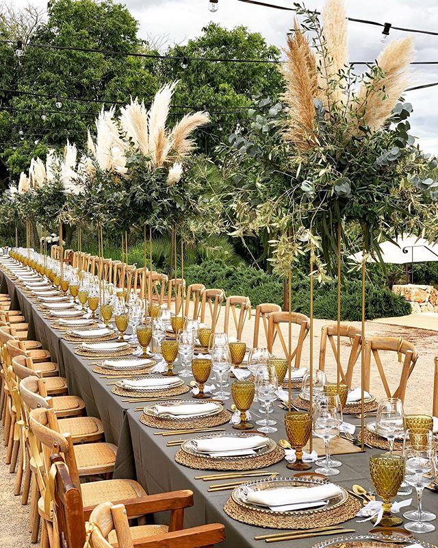mallorca wedding! #💚 #wedding #time #mallorca #groom #bride #allthebest #dreamwedding #kiansgarden #flowers #decoration #pampasgrass #pampasgrasswedding #eucalyptus #eucalyptuswedding #flower #style #styleinspiration #hochzeit #hochzeitsdeko #tabledecoration 🌾🌾🌾