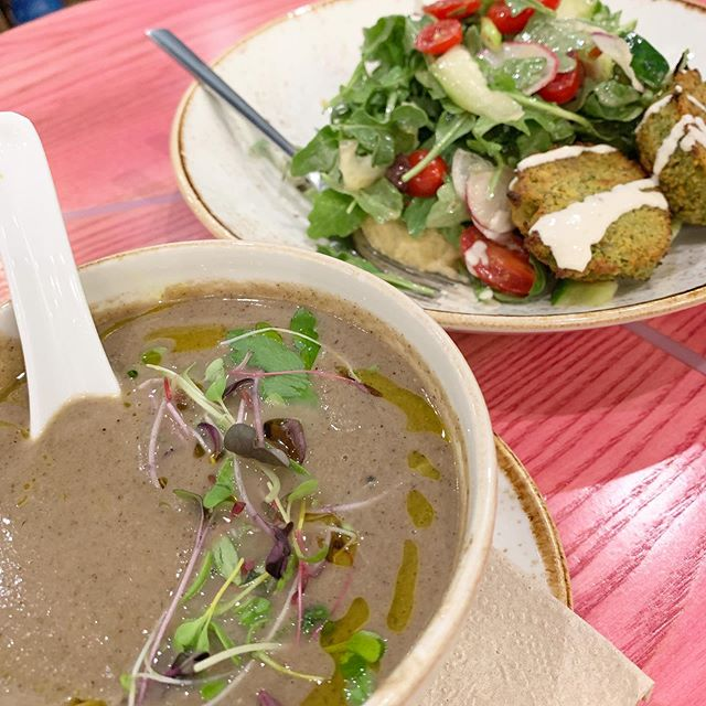 Mushroom farro soup and falafel power bowl #whatsforlunch