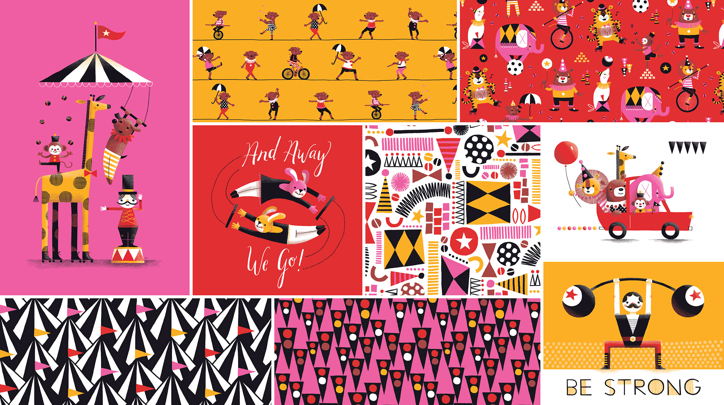 Circus imagery is so fun. First, it involves a lot of different animals, which I always love drawing. Secondly, there are many different shapes, textures and bold patterns that play into my style perfectly. For 10,000 Thrills I utilized a more geometric approach which gave this collection a funky, modern twist.