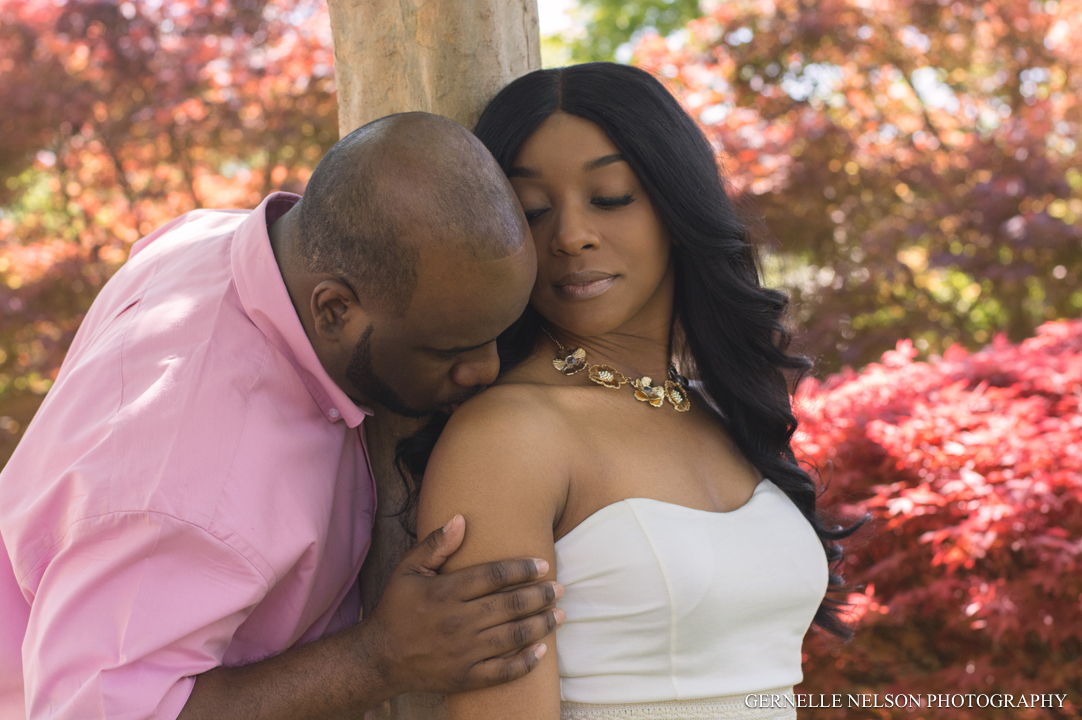 Pink Garden Engagement Photos by Gernelle Nelson - Dallas Arboretum in Garland, TX