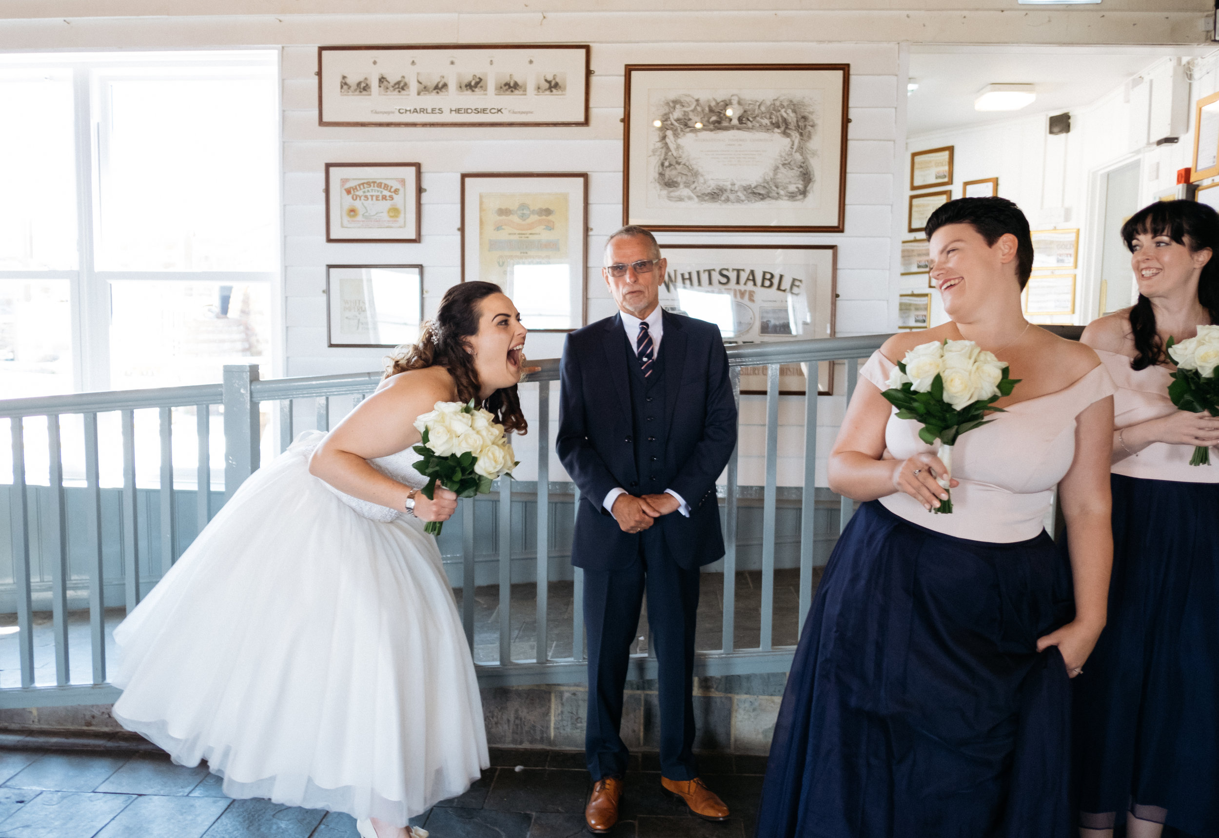 Bride and father of the bride at East Quay wedding