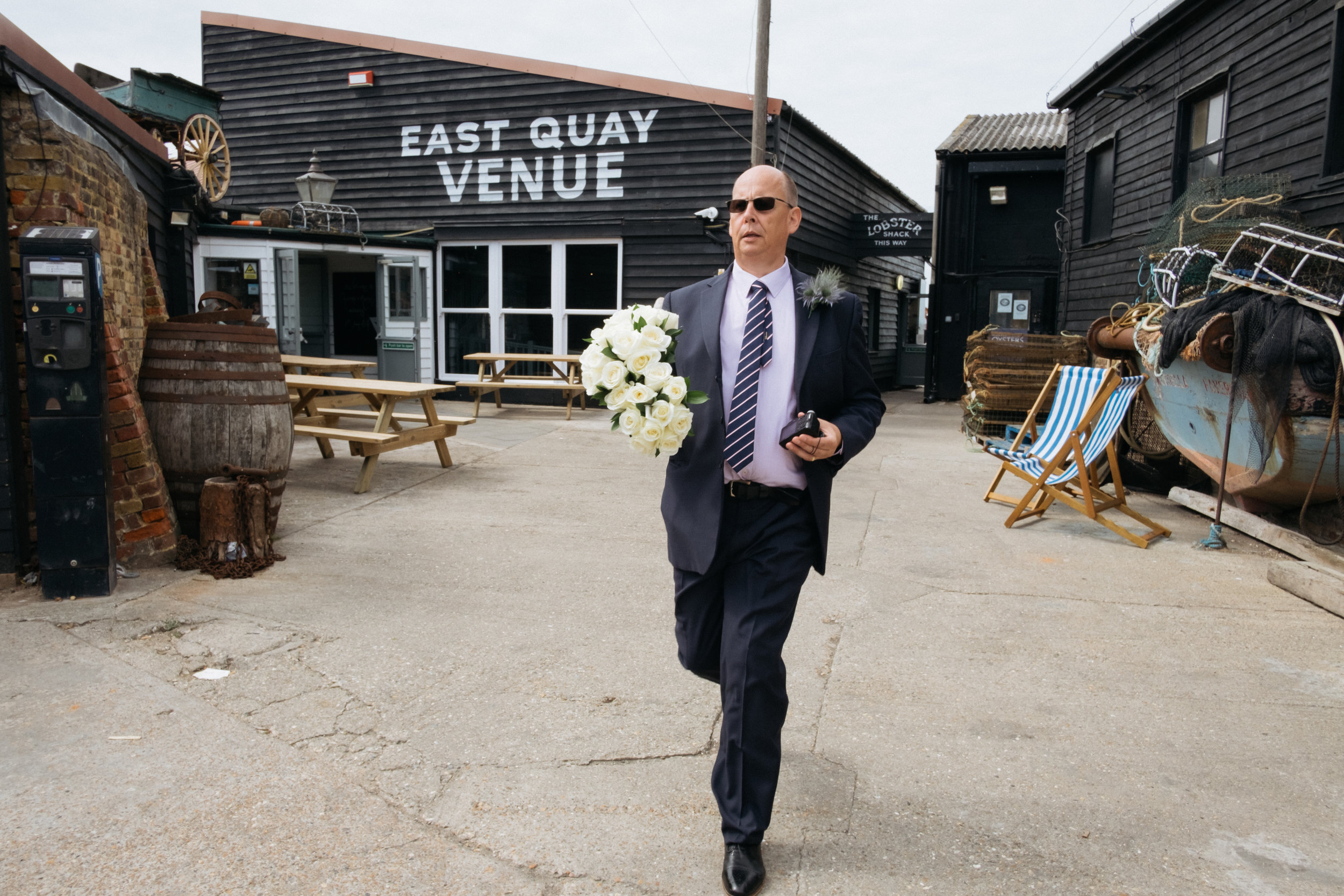 Father of the bride at East Quay wedding