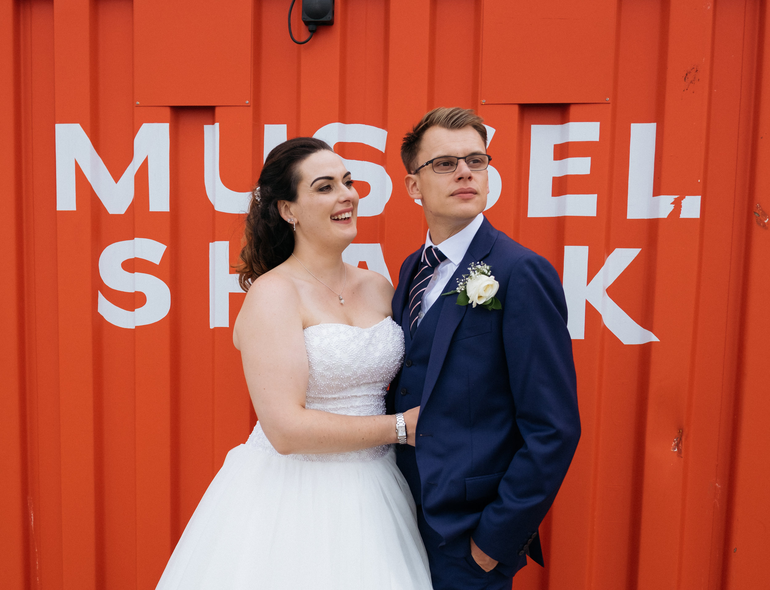 Bride and groom at East Quay wedding venue