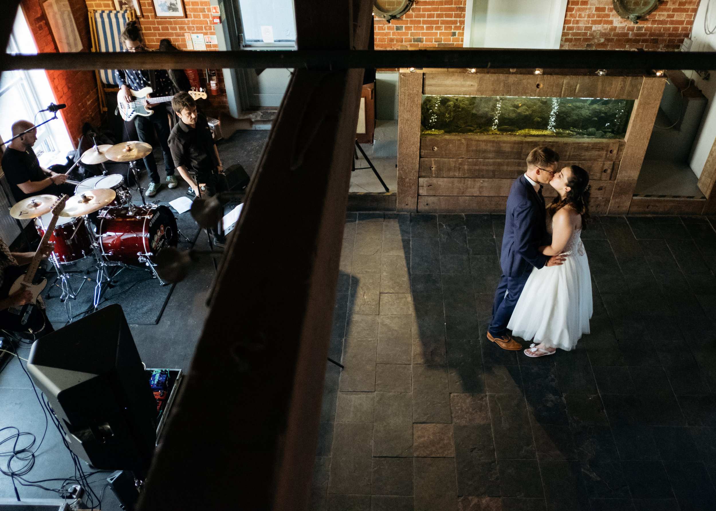 First dance with live band at East Quay wedding venue