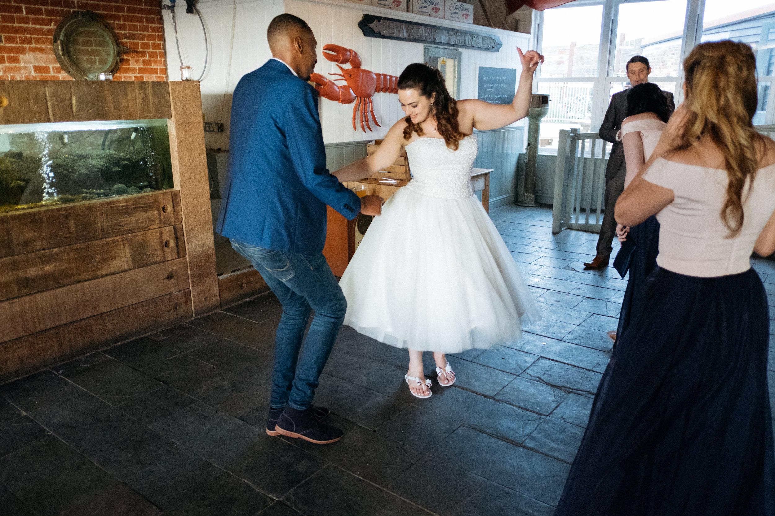 Dancing at East Quay wedding venue