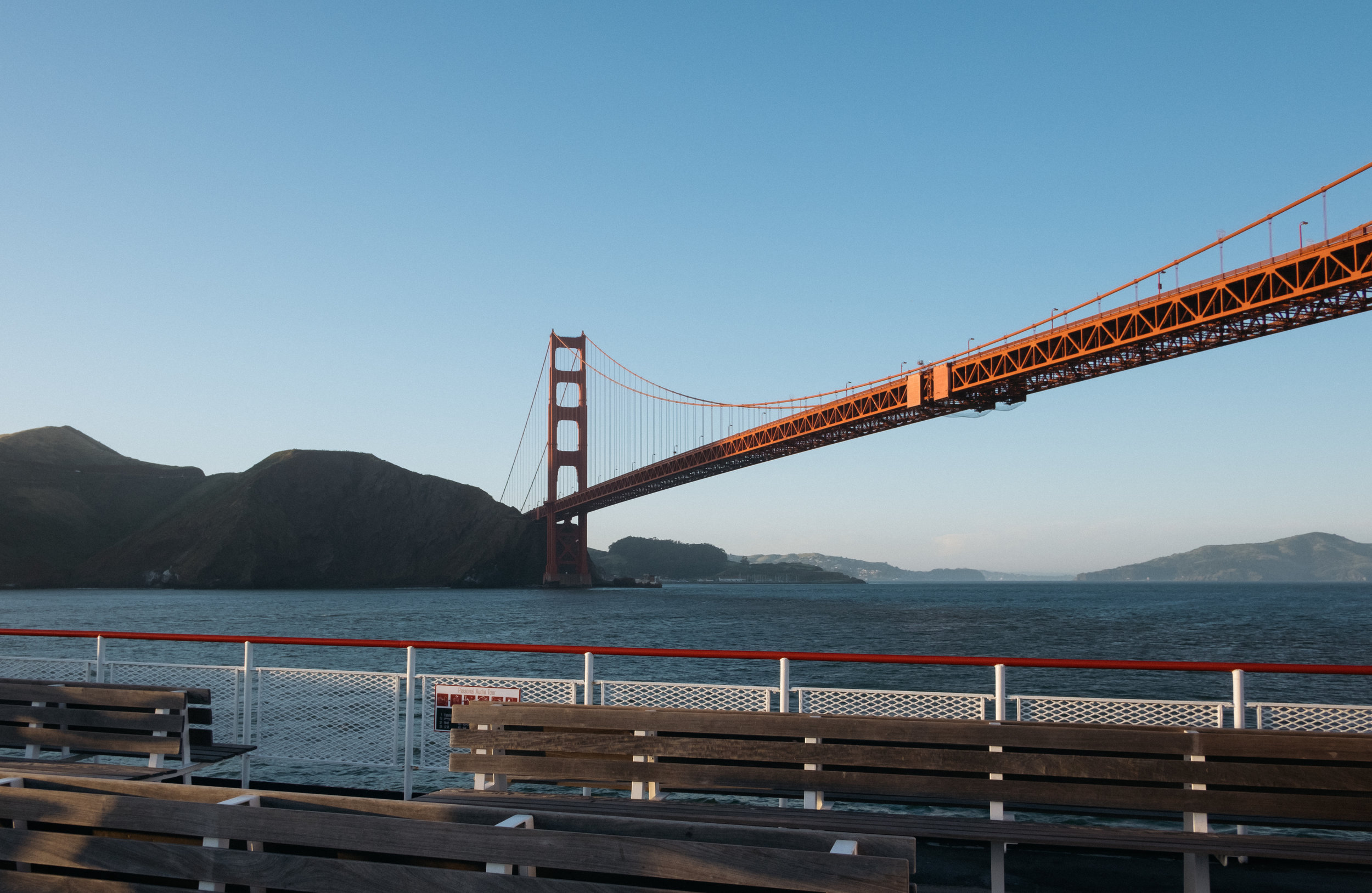 The Golden Gate Bridge from a boat