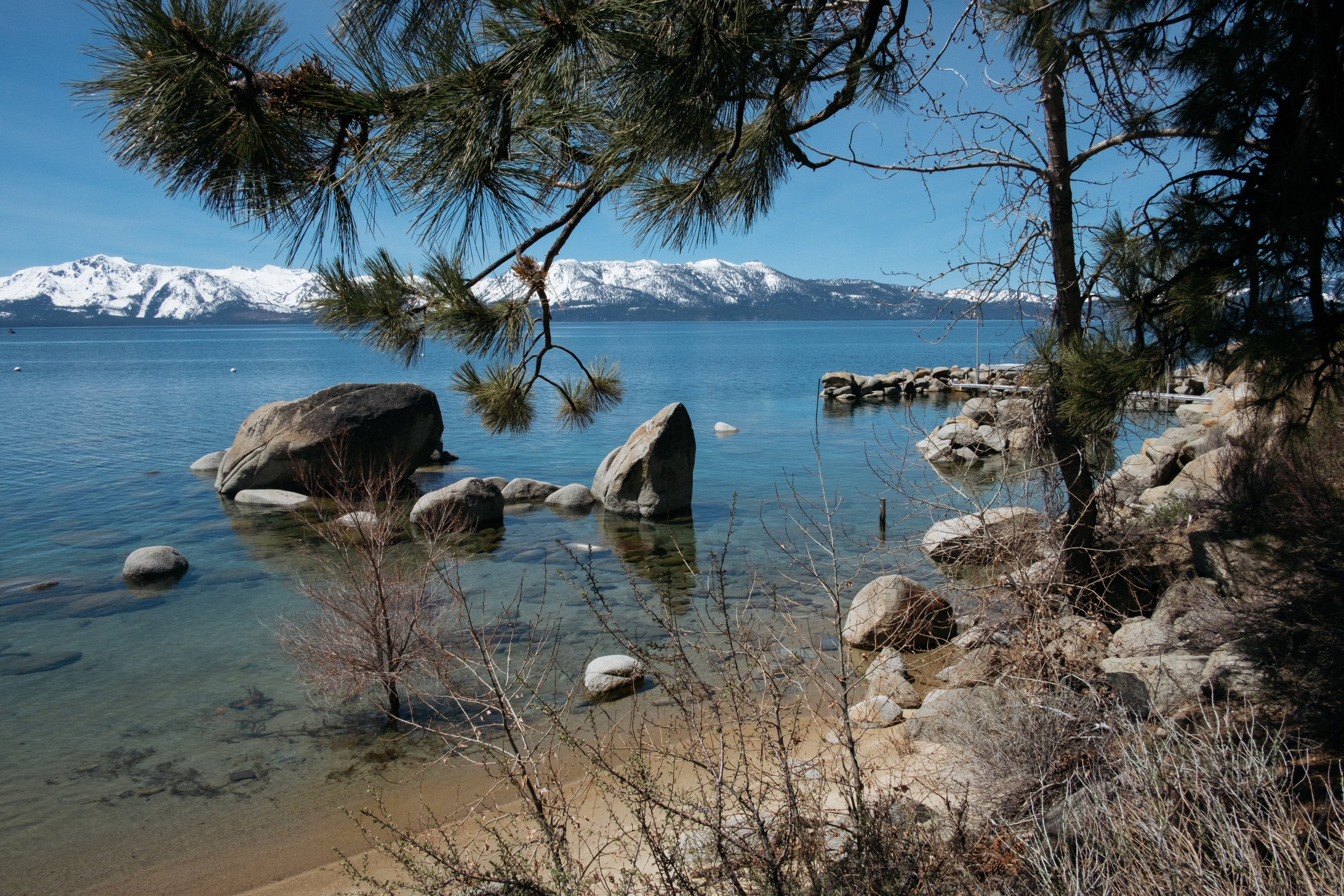 Lake Tahoe shoreline and mountains