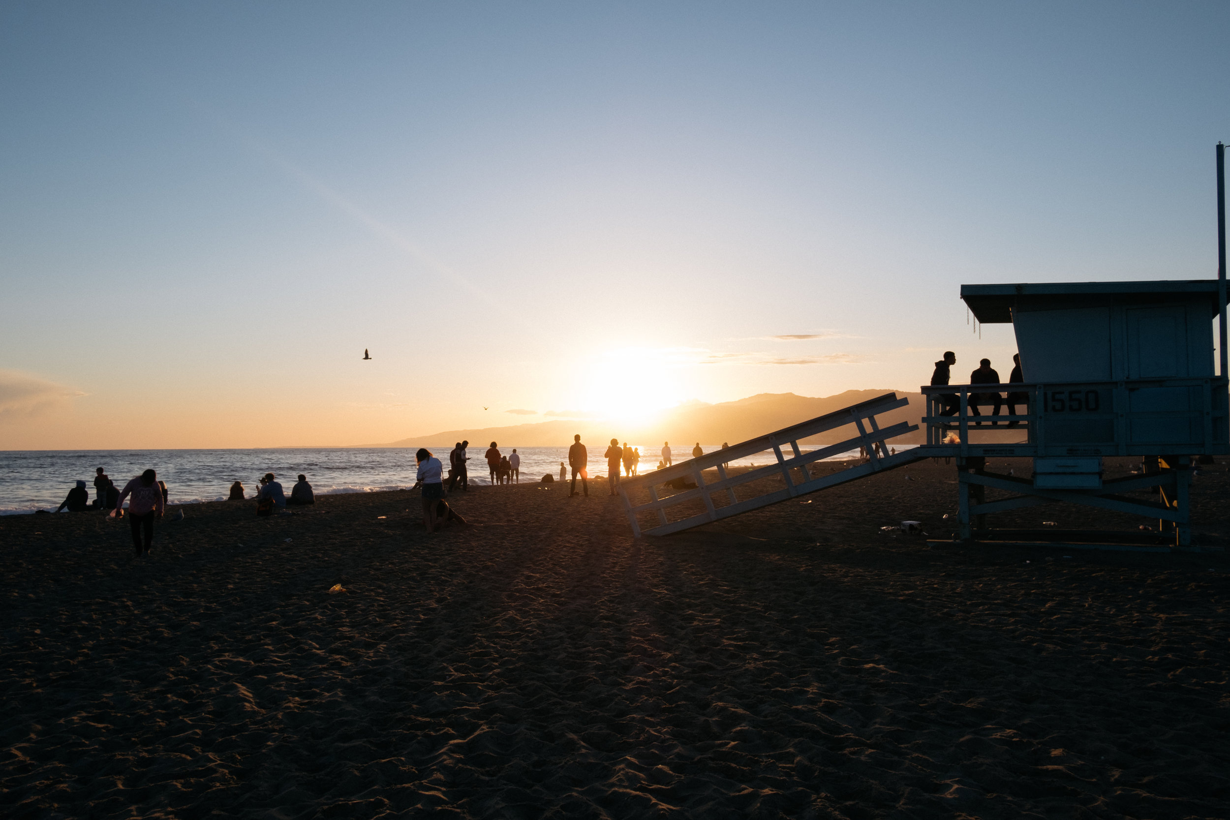 Santa Monica beach at sunset