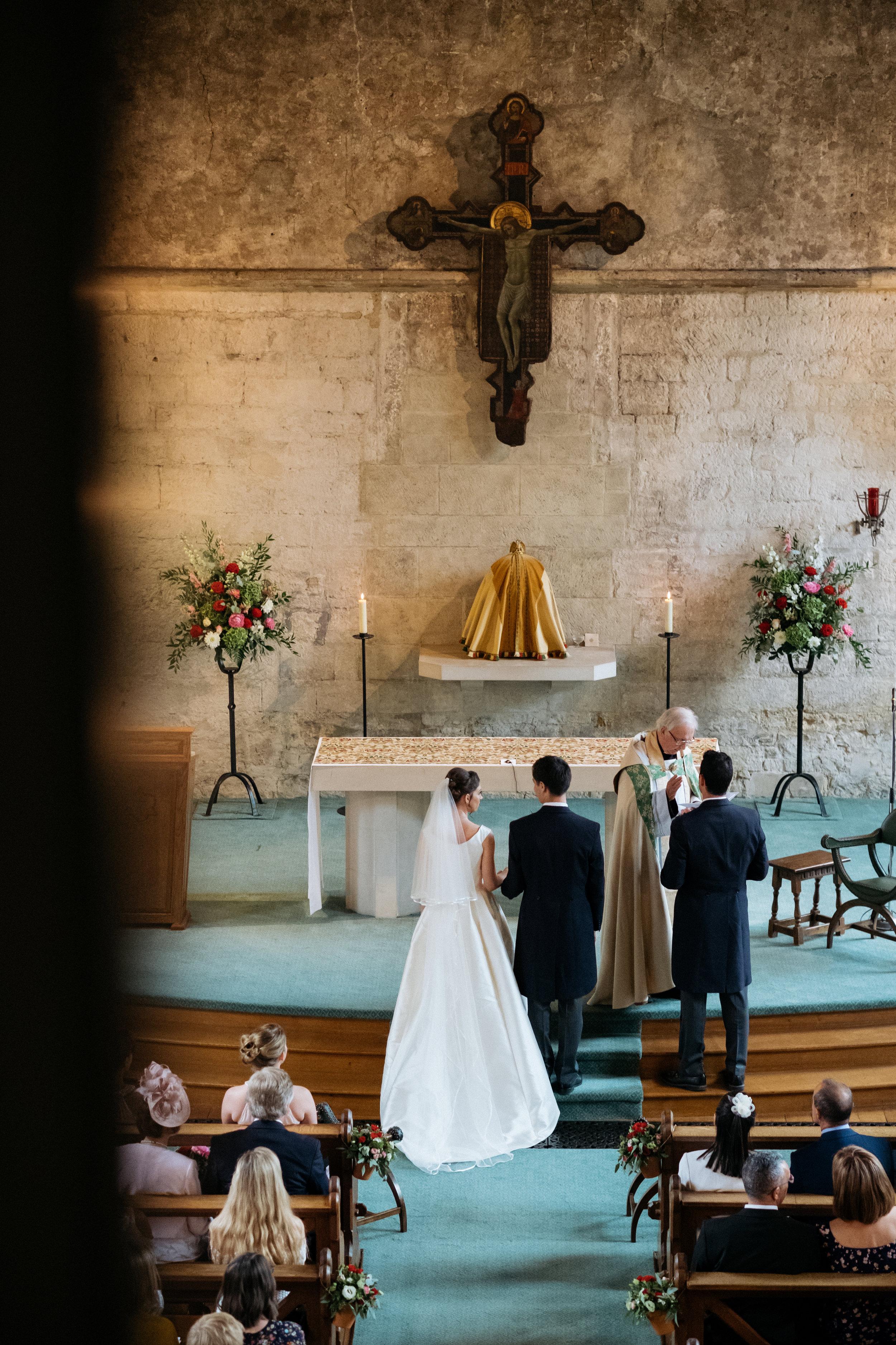 Bride and groom at chapel wedding
