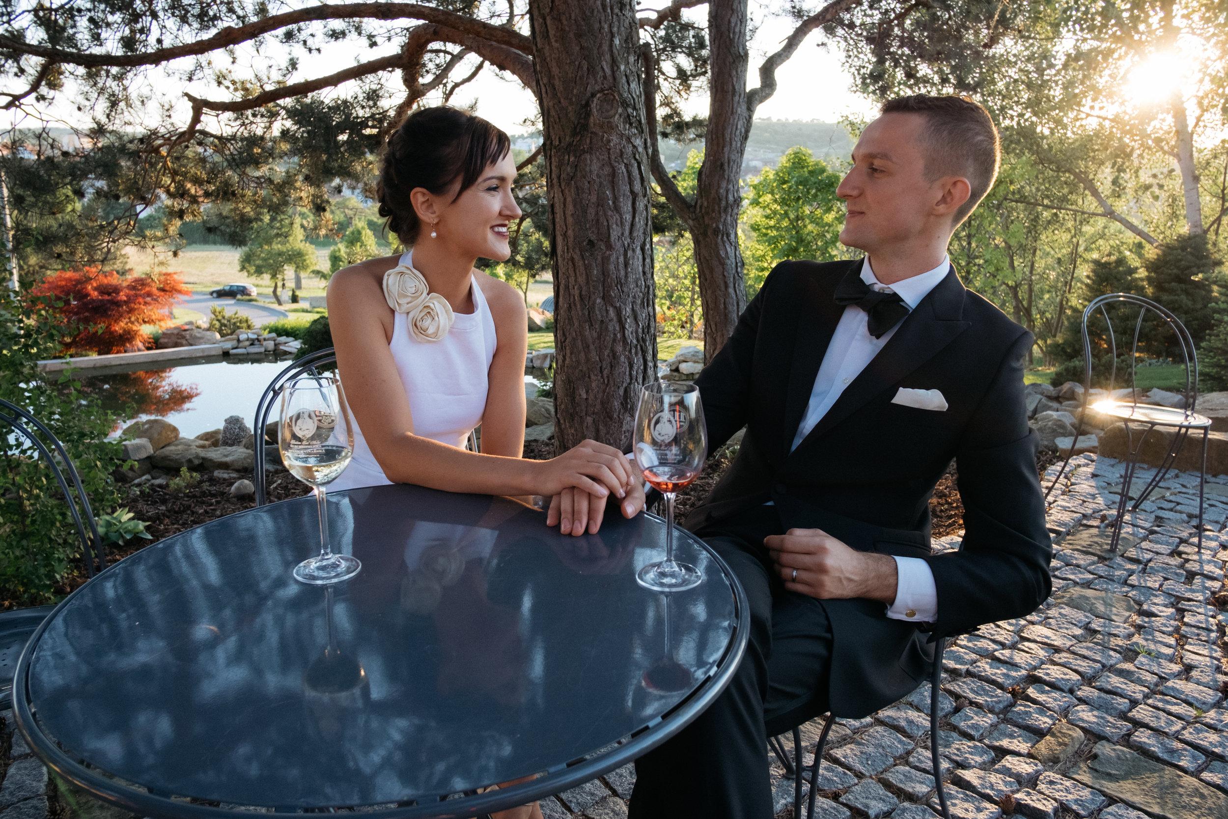 Destination wedding bride and groom