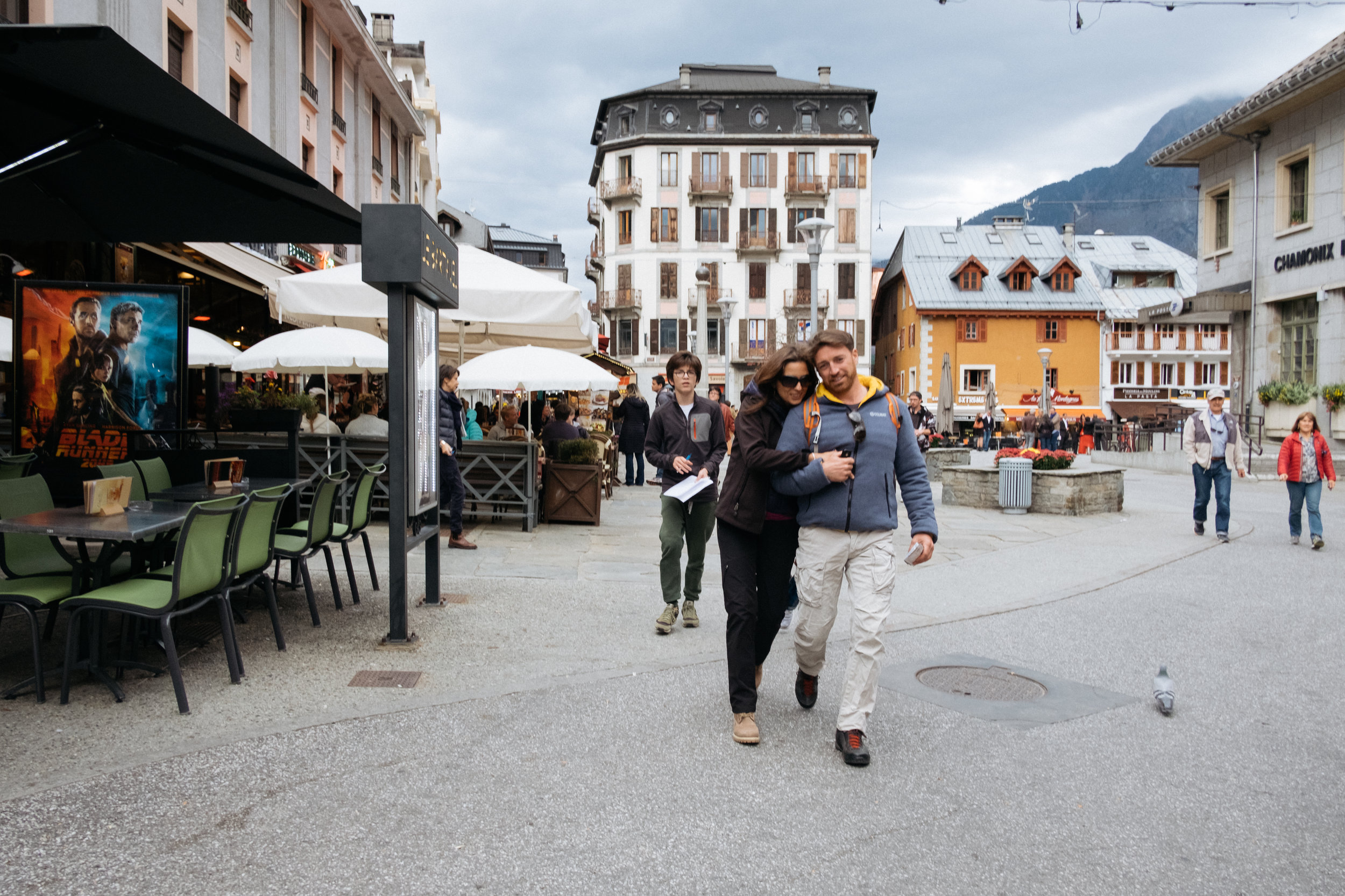 Couple walking through Chamonix