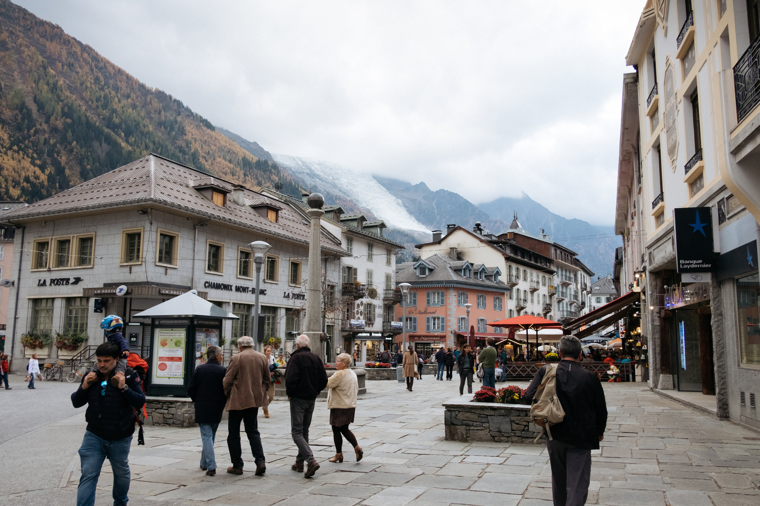 Chamonix town centre with Bossons Glacier